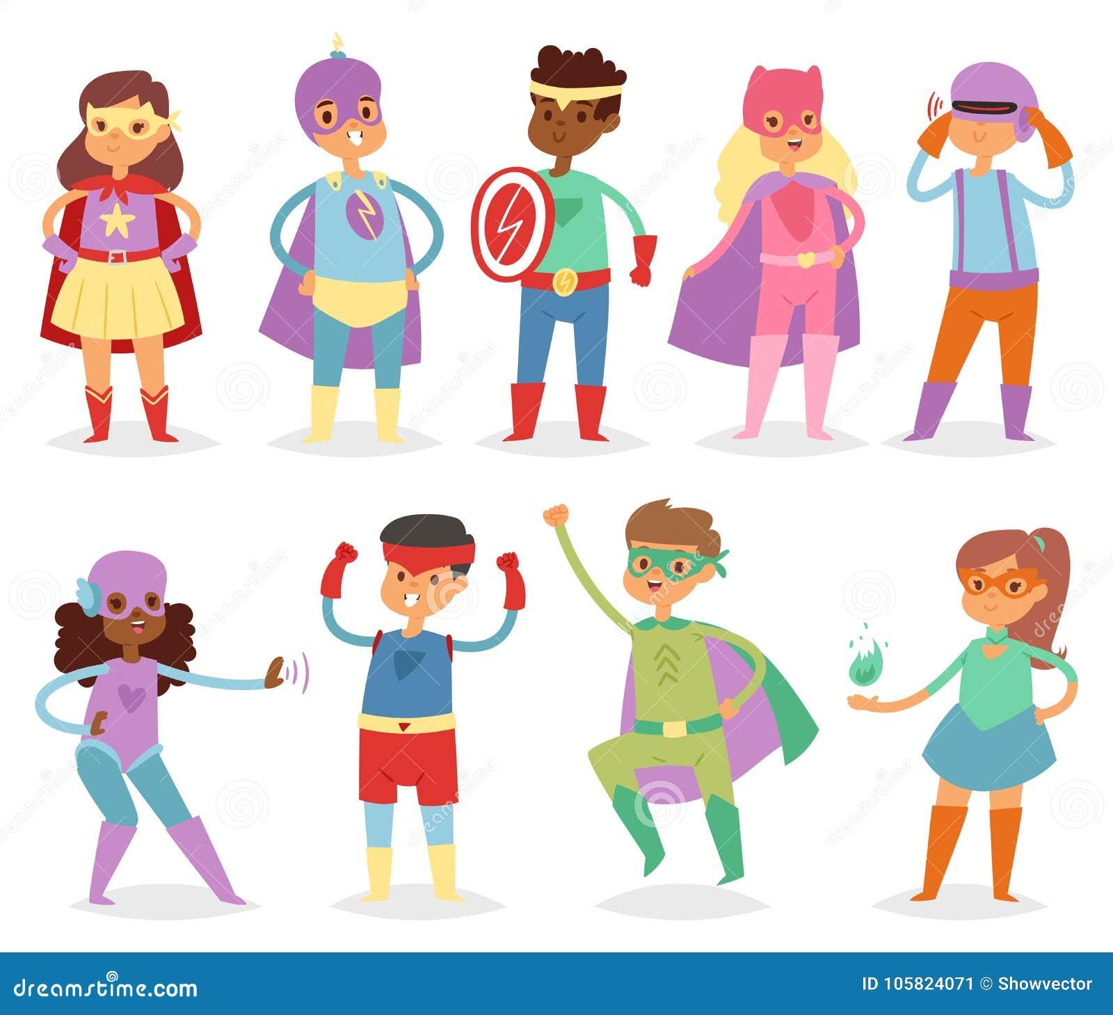 El super héroe embroma el niño o al niño del superhéroe del vector en el personaje de dibujos animados de la máscara de la muchac
