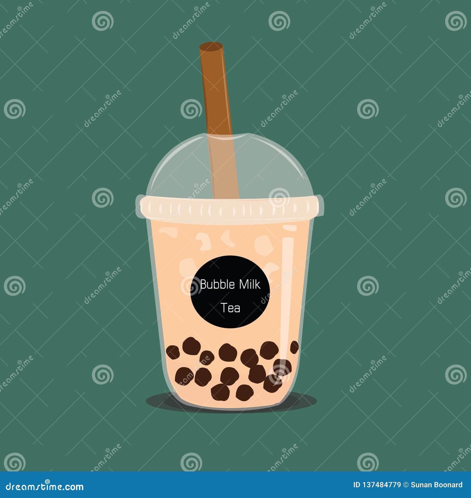 El té de la leche de la burbuja El té negro de la leche de la perla es vector grande y pequeño famoso de la bebida de la taza