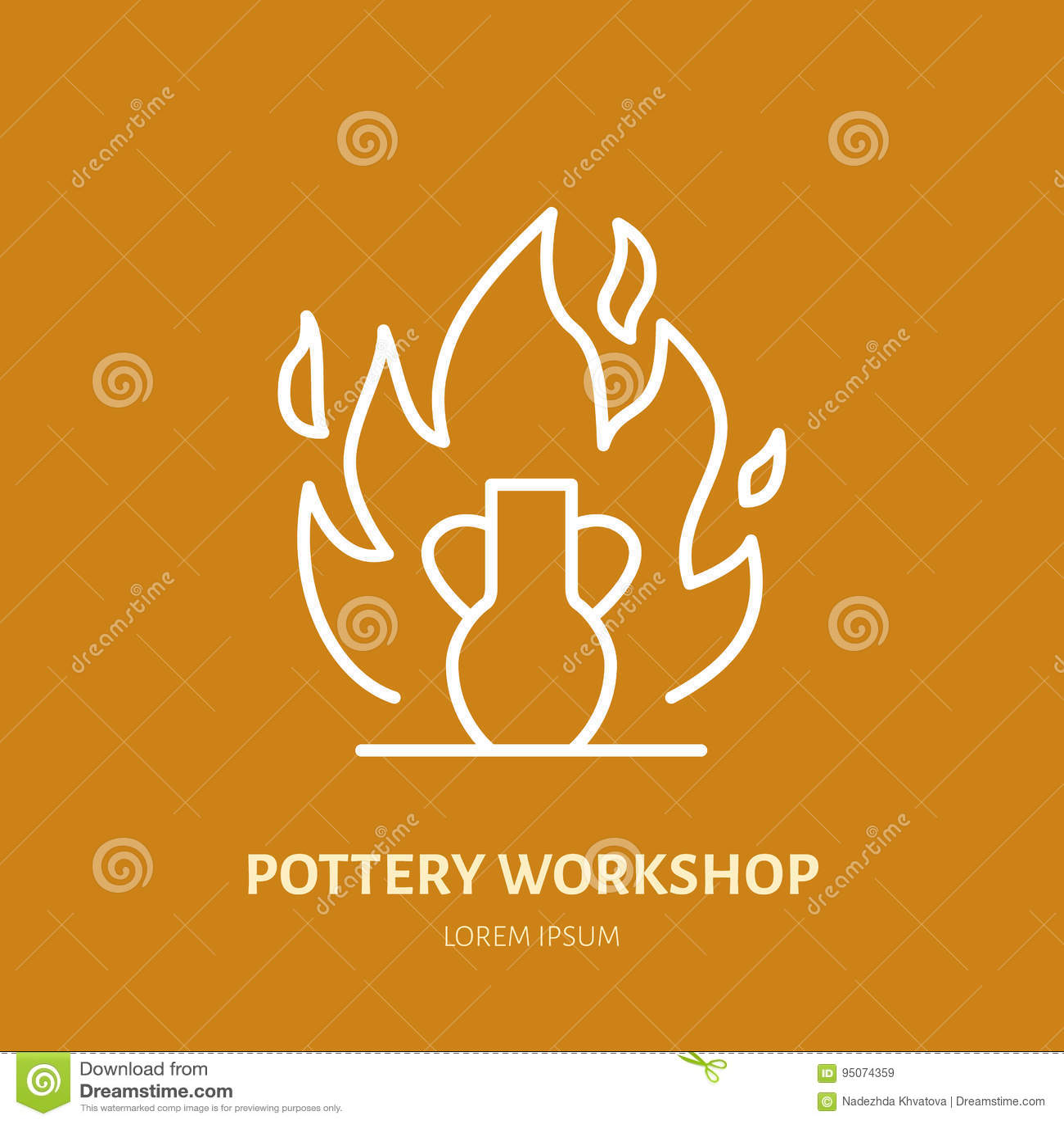 El taller de la cerámica, cerámica clasifica la línea icono El estudio de la arcilla equipa la muestra Edificio de la mano, escul