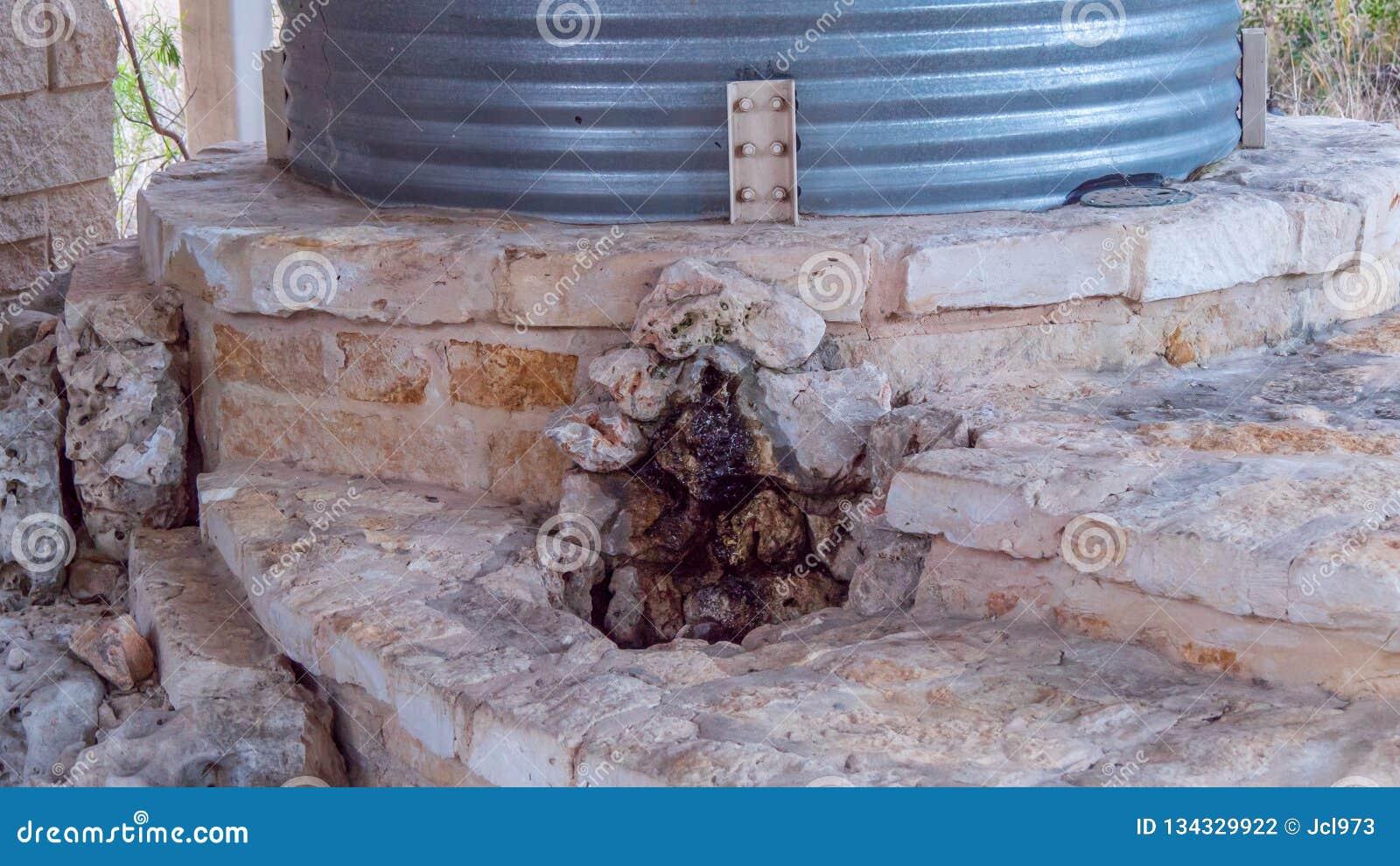 El tanque de almacenamiento de acero acanalado del agua encima de la estructura de la albañilería de la losa, con la pequeña fuen