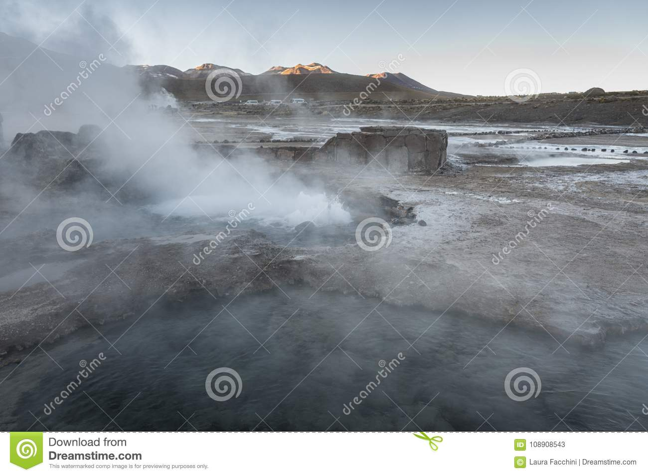 El Tatio geysers, the biggest geysers of the southern hemisphere close to the plateau of San Pedro de Atacama, Calama, Antofagasta