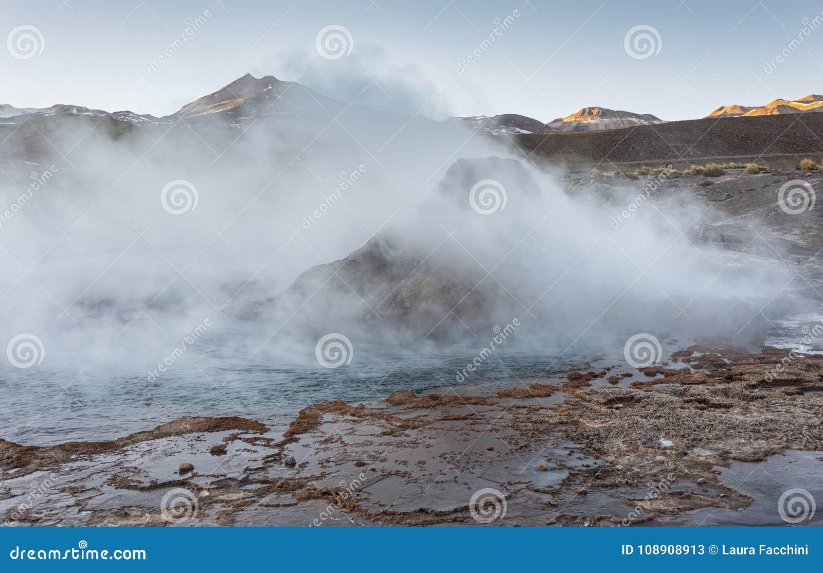 El Tatio geysers, the biggest geysers of the southern hemisphere close to the plateau of San Pedro de Atacama, Calama, Antofagasta