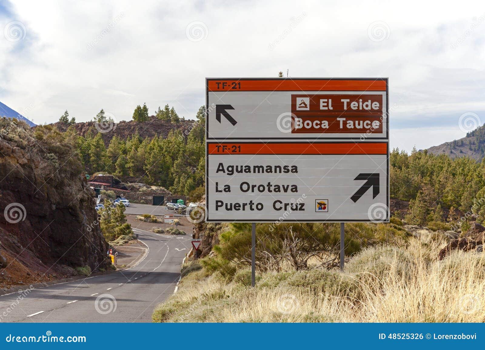 El teide road sign