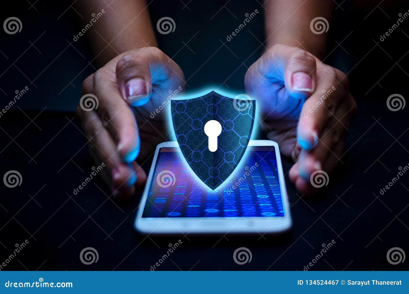 El teléfono Smartphone de Internet del escudo se protege contra los ataques del pirata informático, de la prensa del cortafuego h