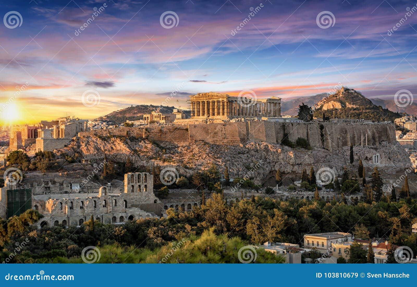 El templo del Parthenon en la acrópolis de Atenas, Grecia