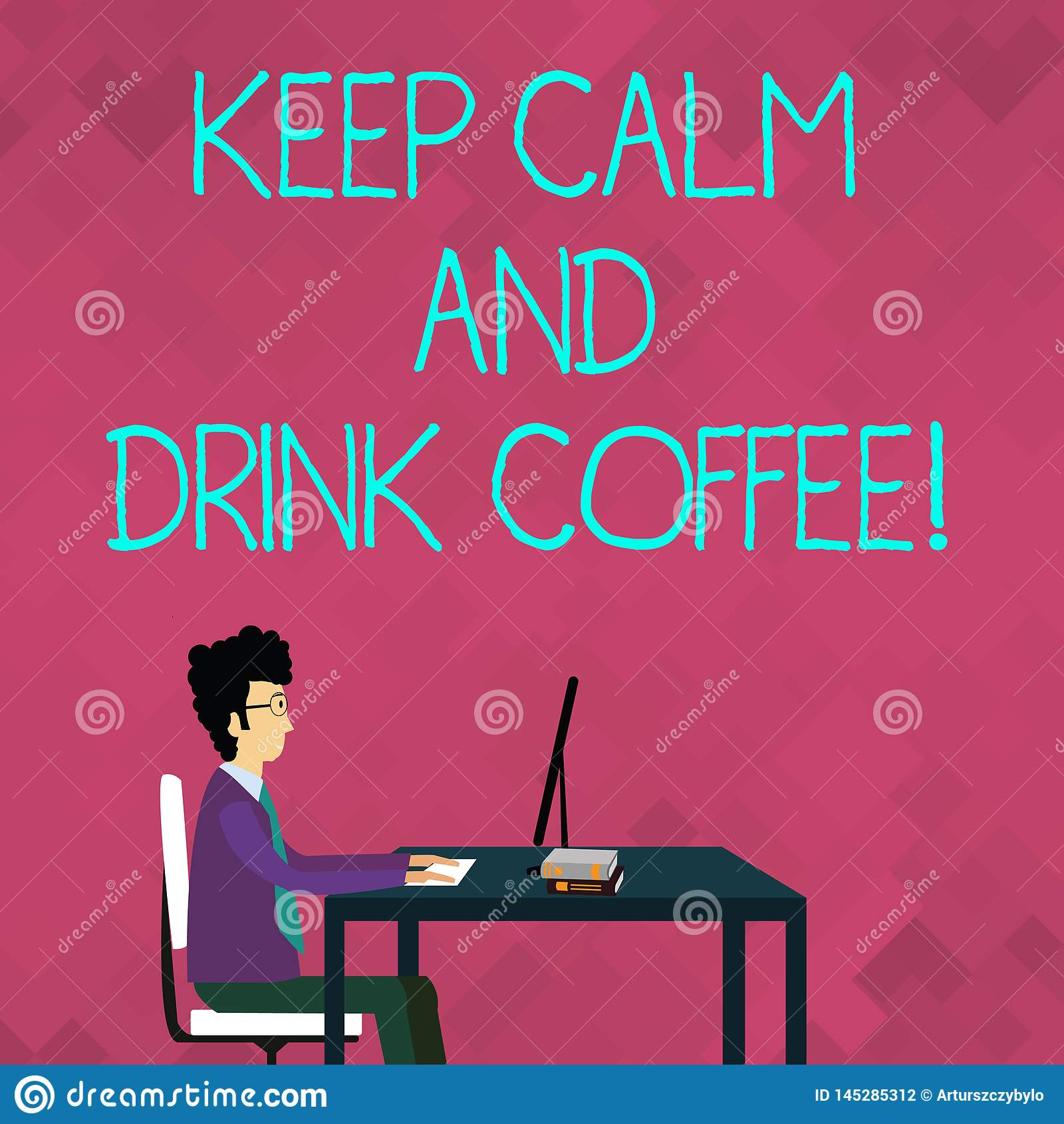 El texto de la escritura de la palabra guarda el caf? de la calma y de la bebida El concepto del negocio para anima la demostraci