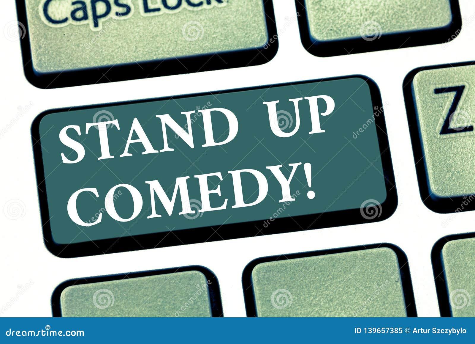 El texto de la escritura se levanta comedia Cómico del significado del concepto que realiza el discurso delante de llave de tecla
