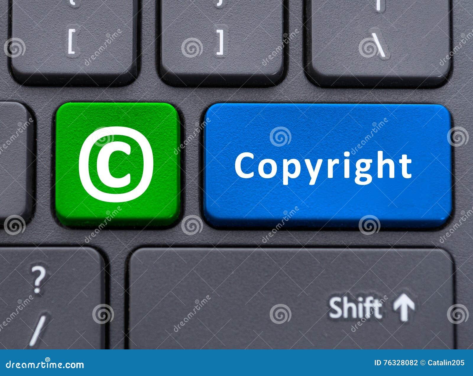 El texto y el símbolo de Copyright abotonan en concepto del teclado