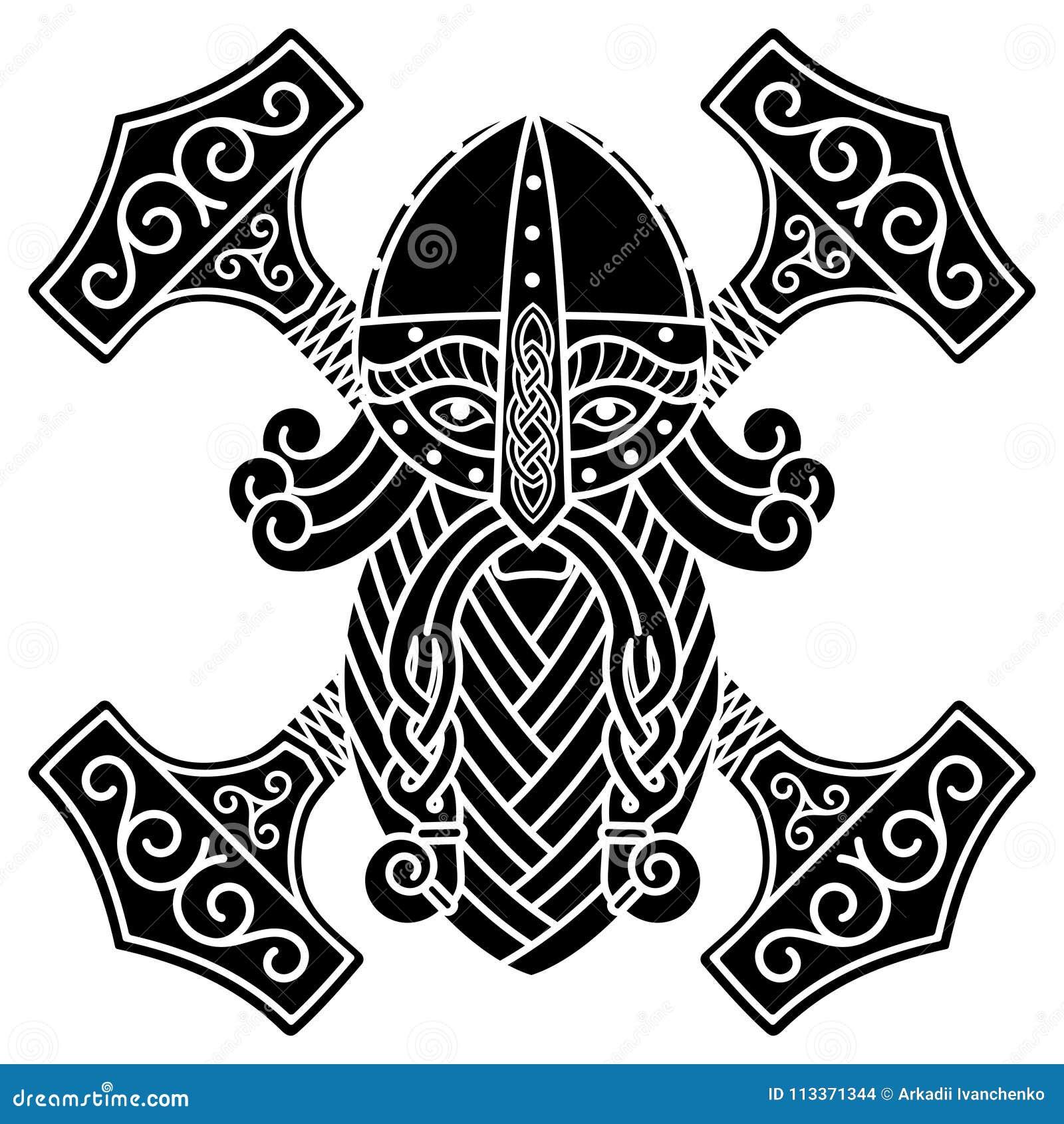 El Thor escandinavo antiguo y el martillo Mjolnir de dios