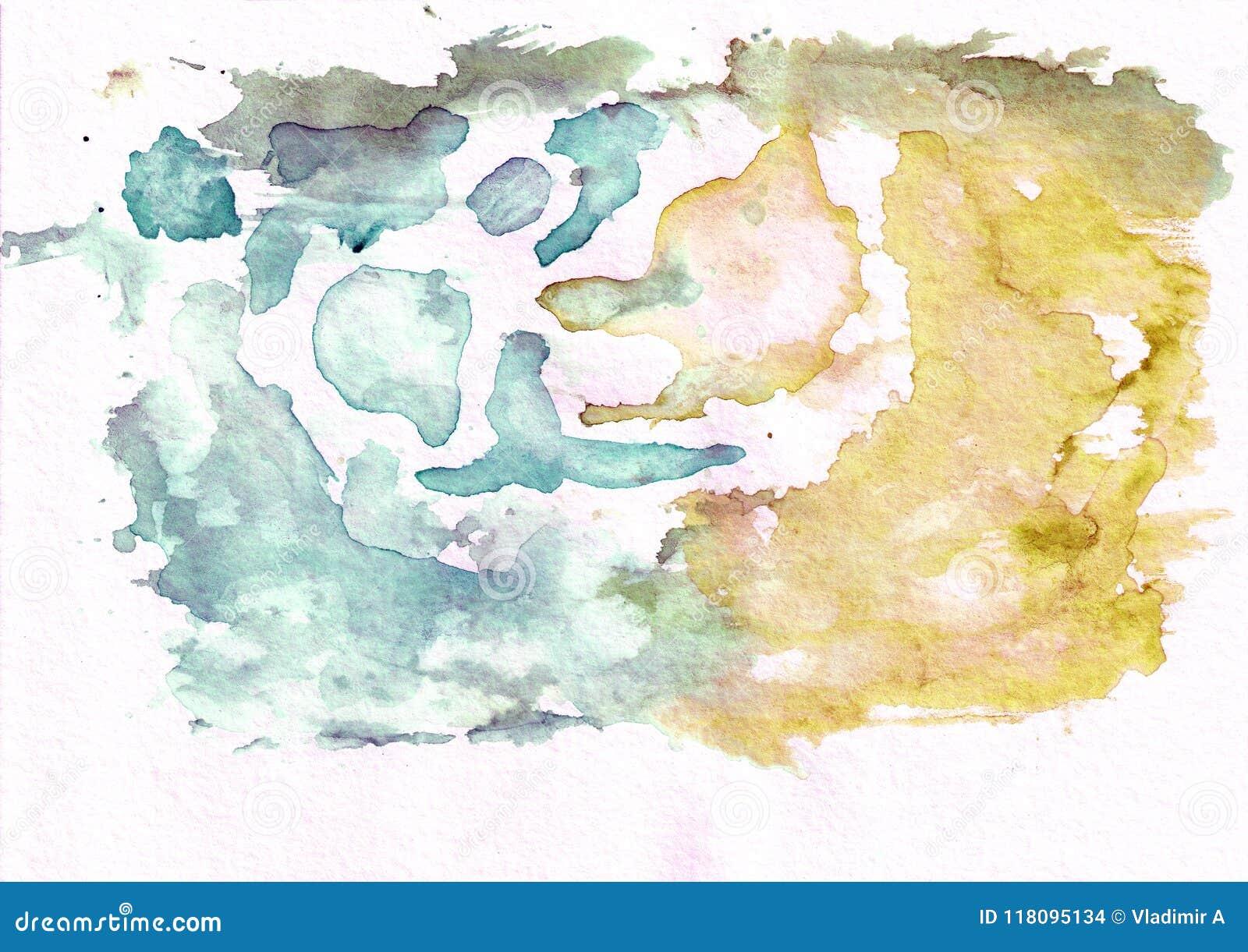 El thw ocre cerúleo oscuro del trullo y del bronce resume el fondo de la acuarela Él ` s útil para las tarjetas de felicitación,