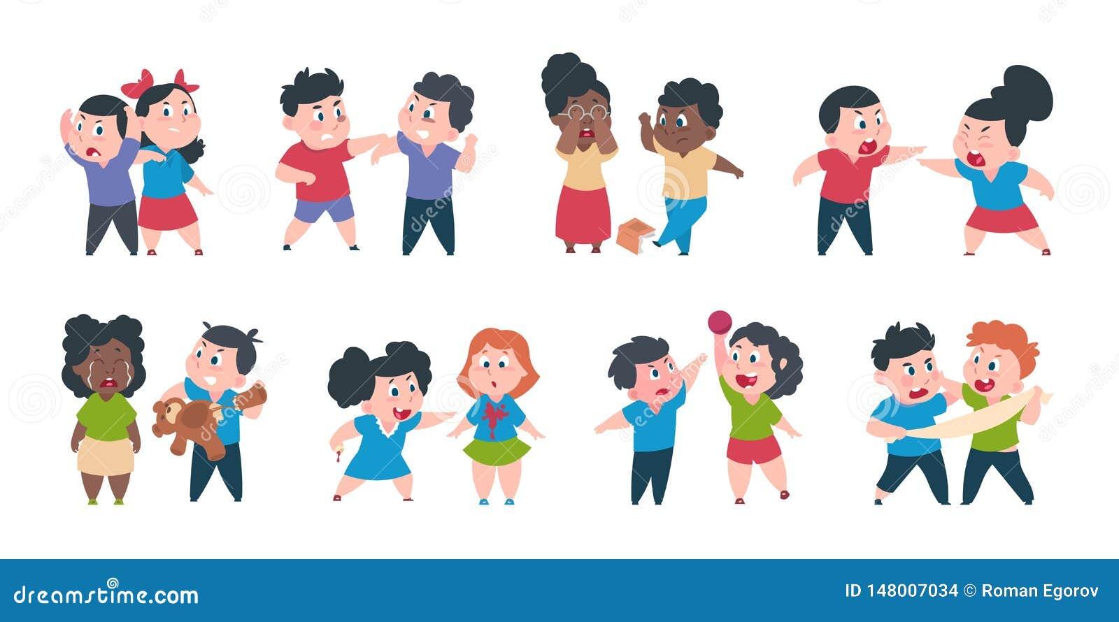 El tiranizar del ni?o Los malos niños enojados del comportamiento del niño, asustado y fuerte están en conflicto, confrontación d