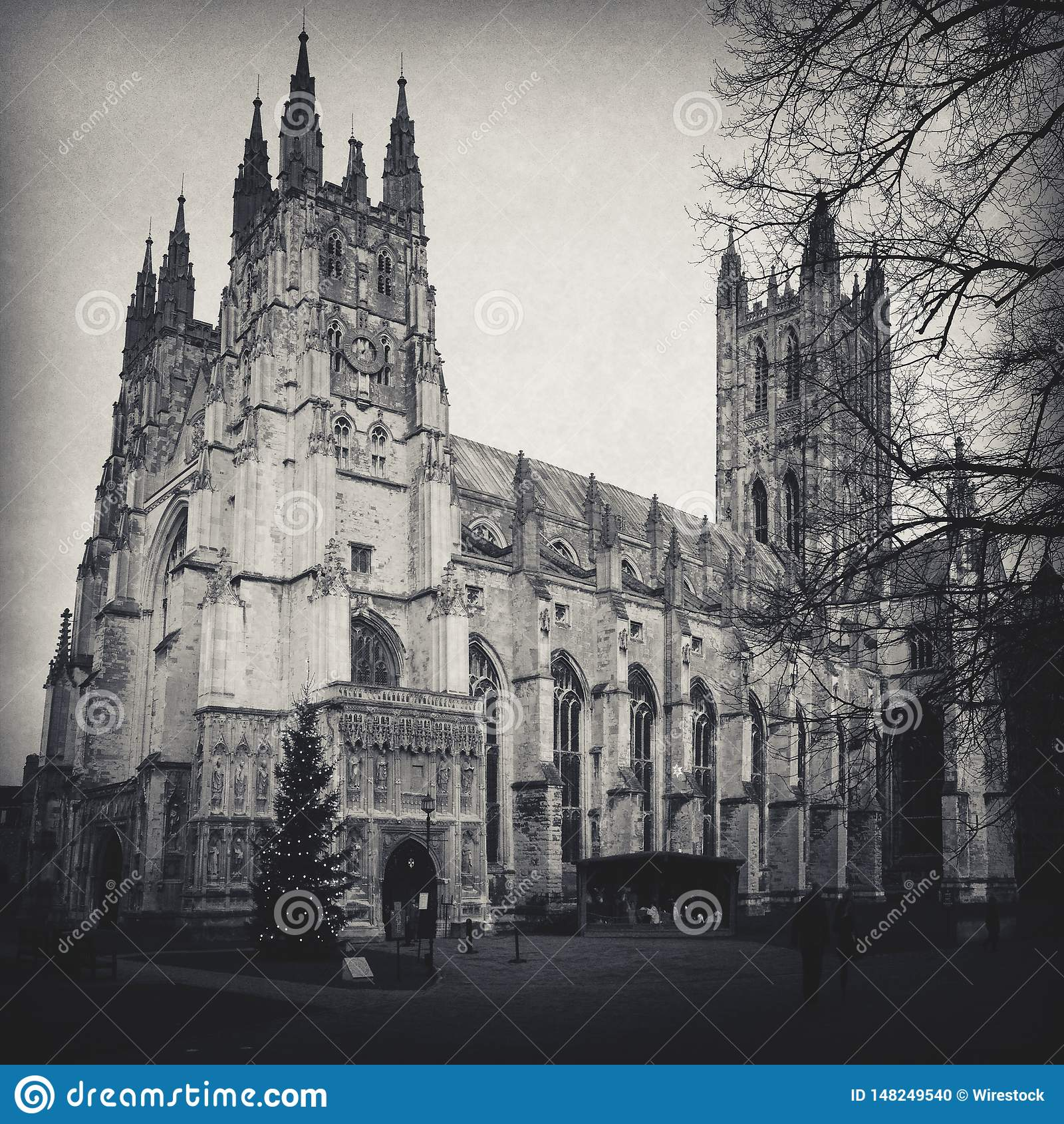 El tiro de la catedral de Cantorbery en blanco y negro