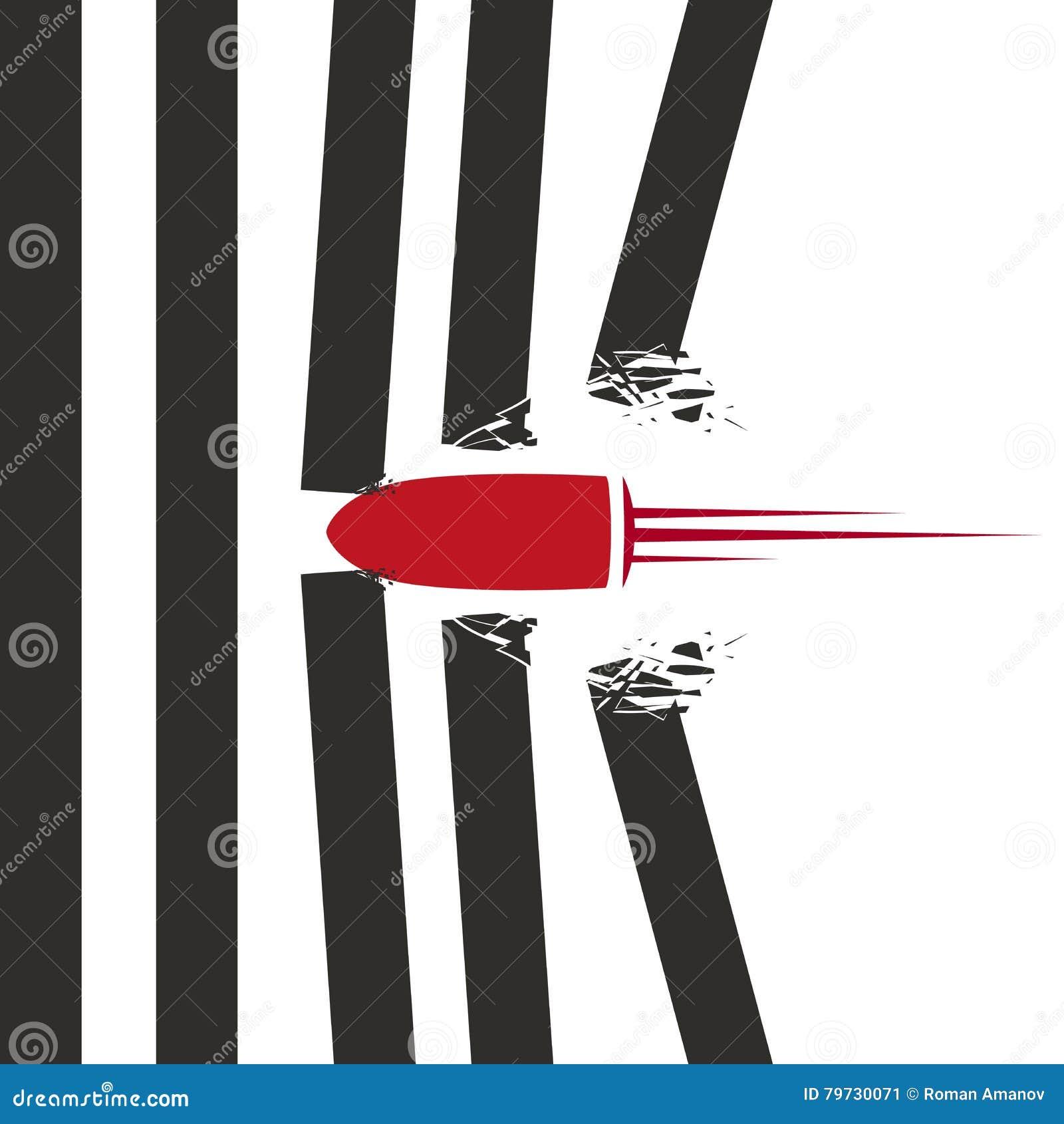 El tiro rojo de la bala rompió las paredes en el fondo blanco Concepto de diseño del cartel o del aviador