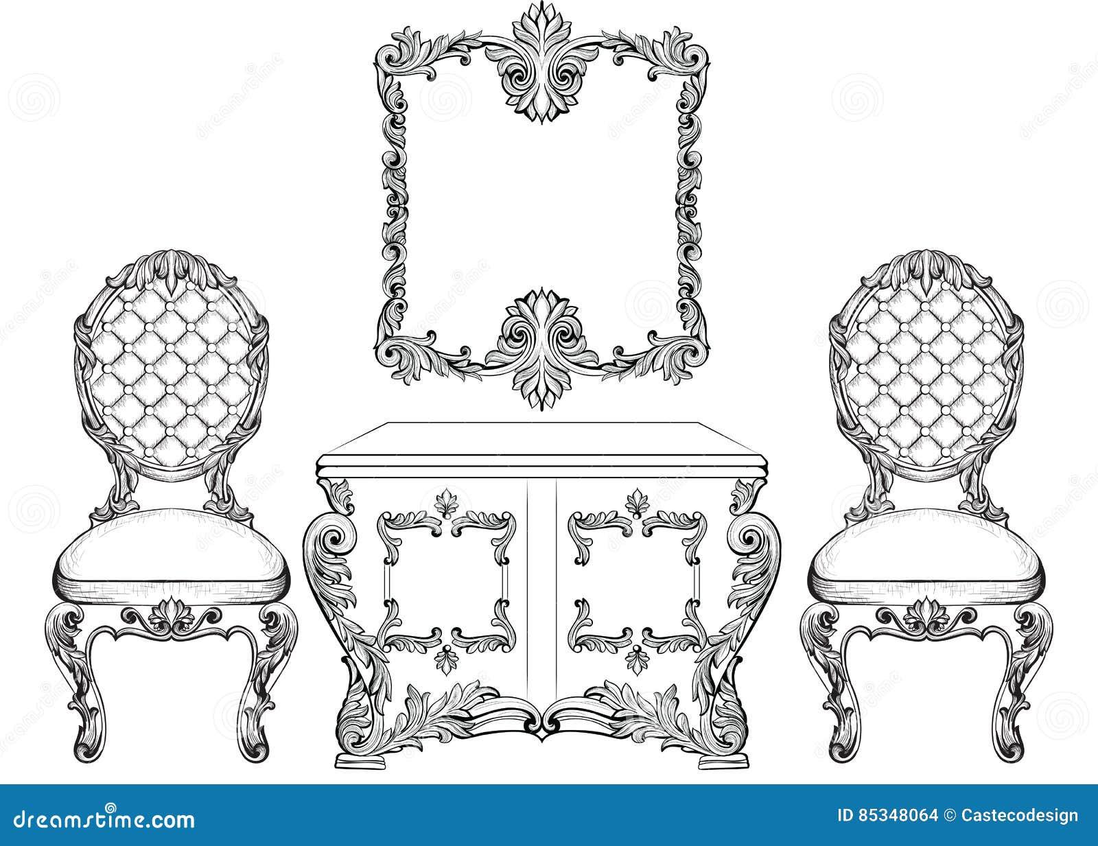el tocador y las sillas de lujo barrocos de los muebles del estilo fijaron la coleccin tapicera con los ornamentos ricos lujoso