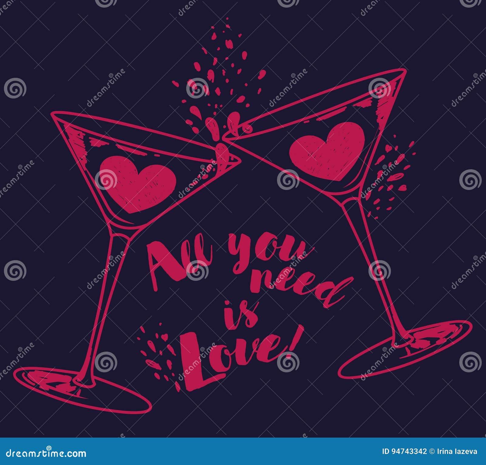 El ` todo lo que usted necesita es cartel del ` del amor con dos vidrios y corazones de martini