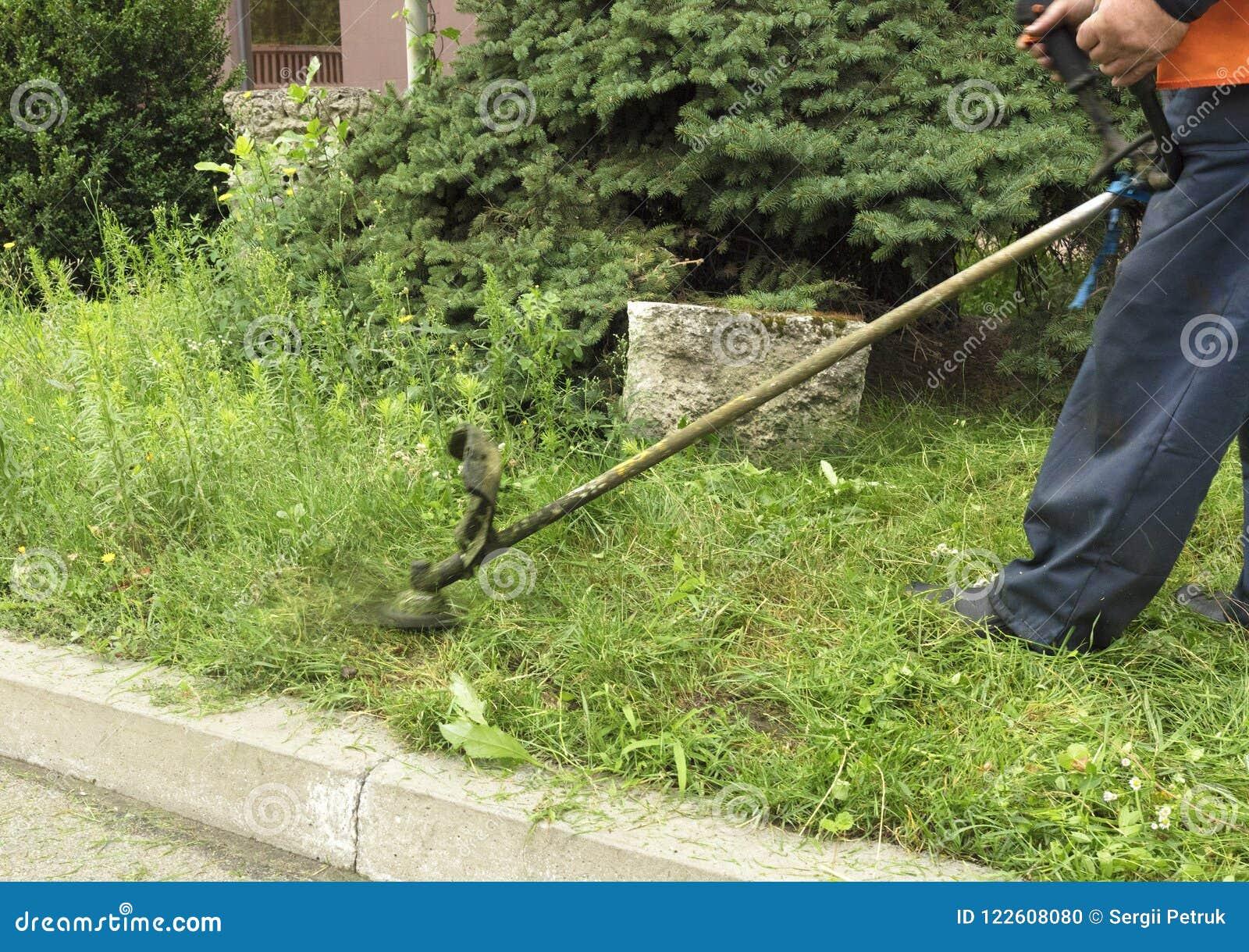 El trabajador corta la alta hierba con una hierba industrial del ajuste de la gasolina