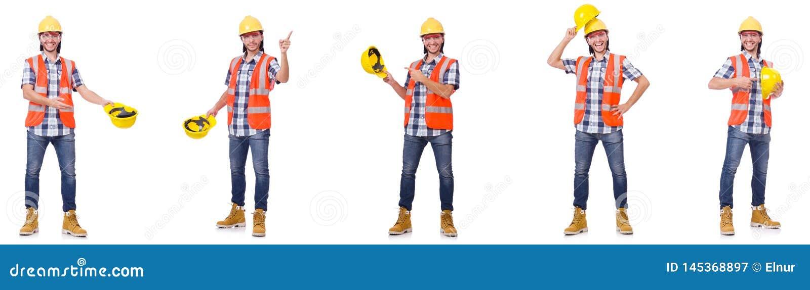 El trabajador industrial aislado en blanco