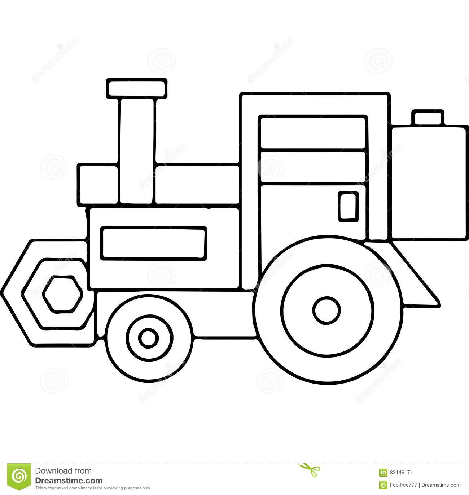 El Tractor Embroma Las Figuras Geométricas Que Colorean La Página ...