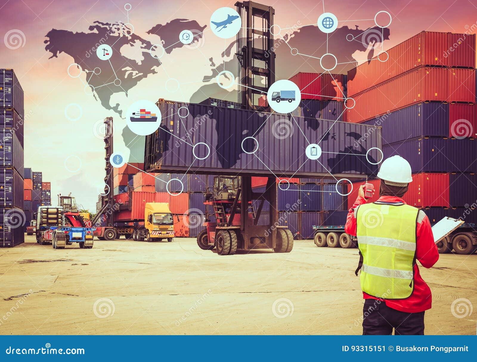 El transporte global de la red de la logística, traza sociedad global de la logística