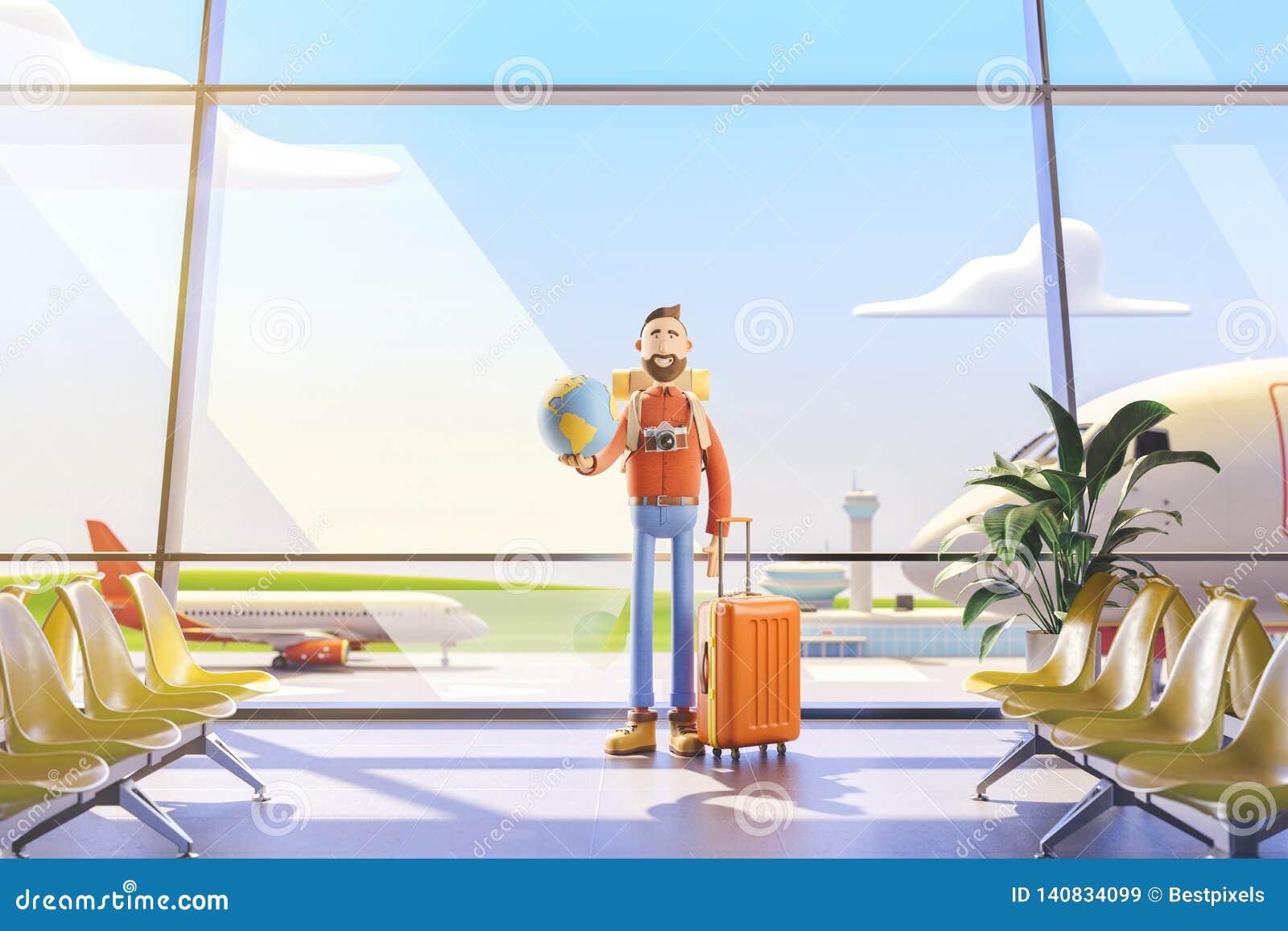 El turista del personaje de dibujos animados mantiene el mundo entero en la palma aeropuerto ilustración 3D Concepto del World Tr