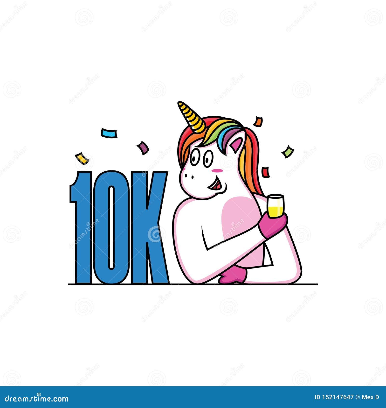 El unicornio celebra sus seguidores con la cara feliz