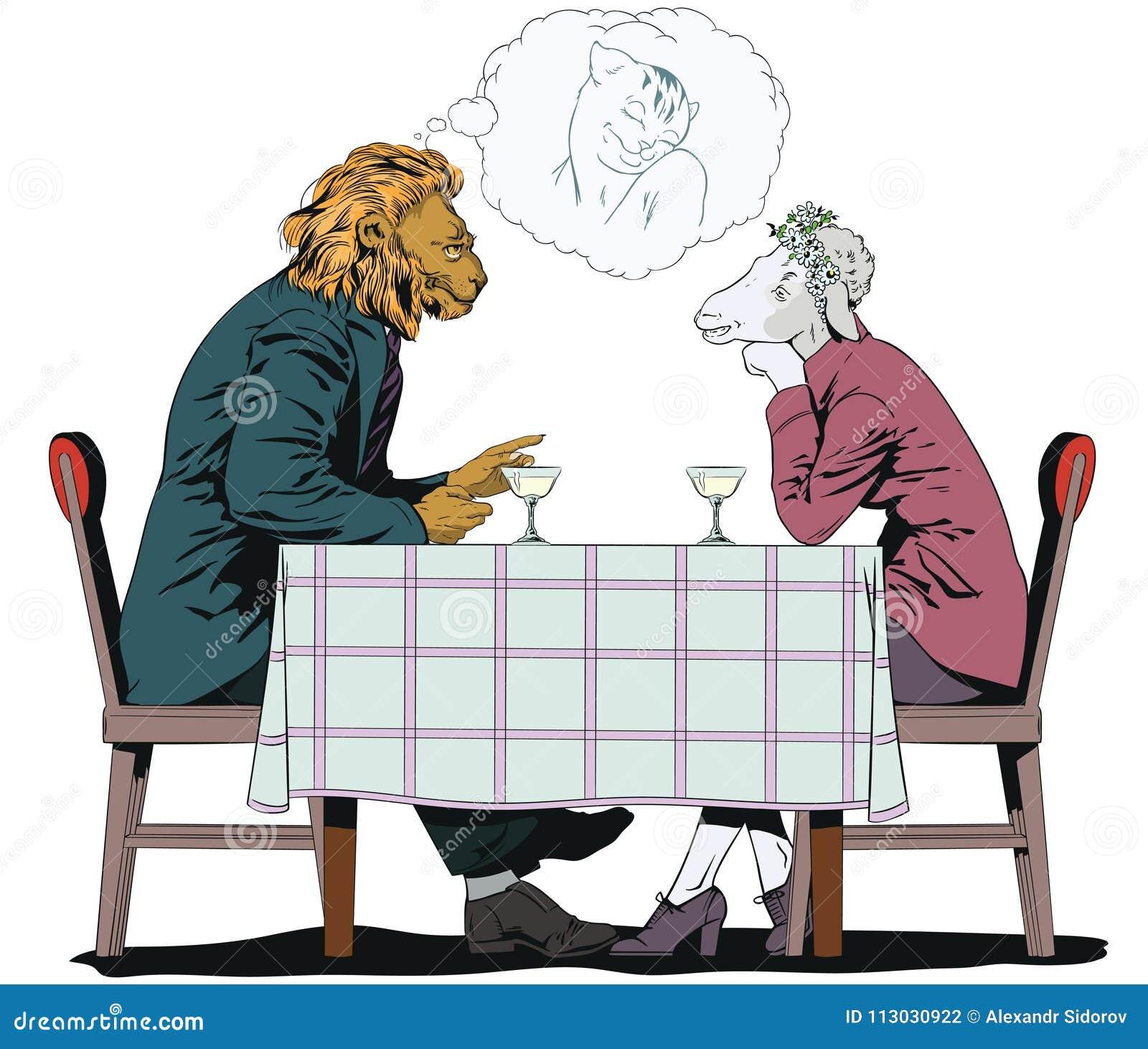El varón está hablando con la muchacha León y ovejas Gente en imágenes del ani