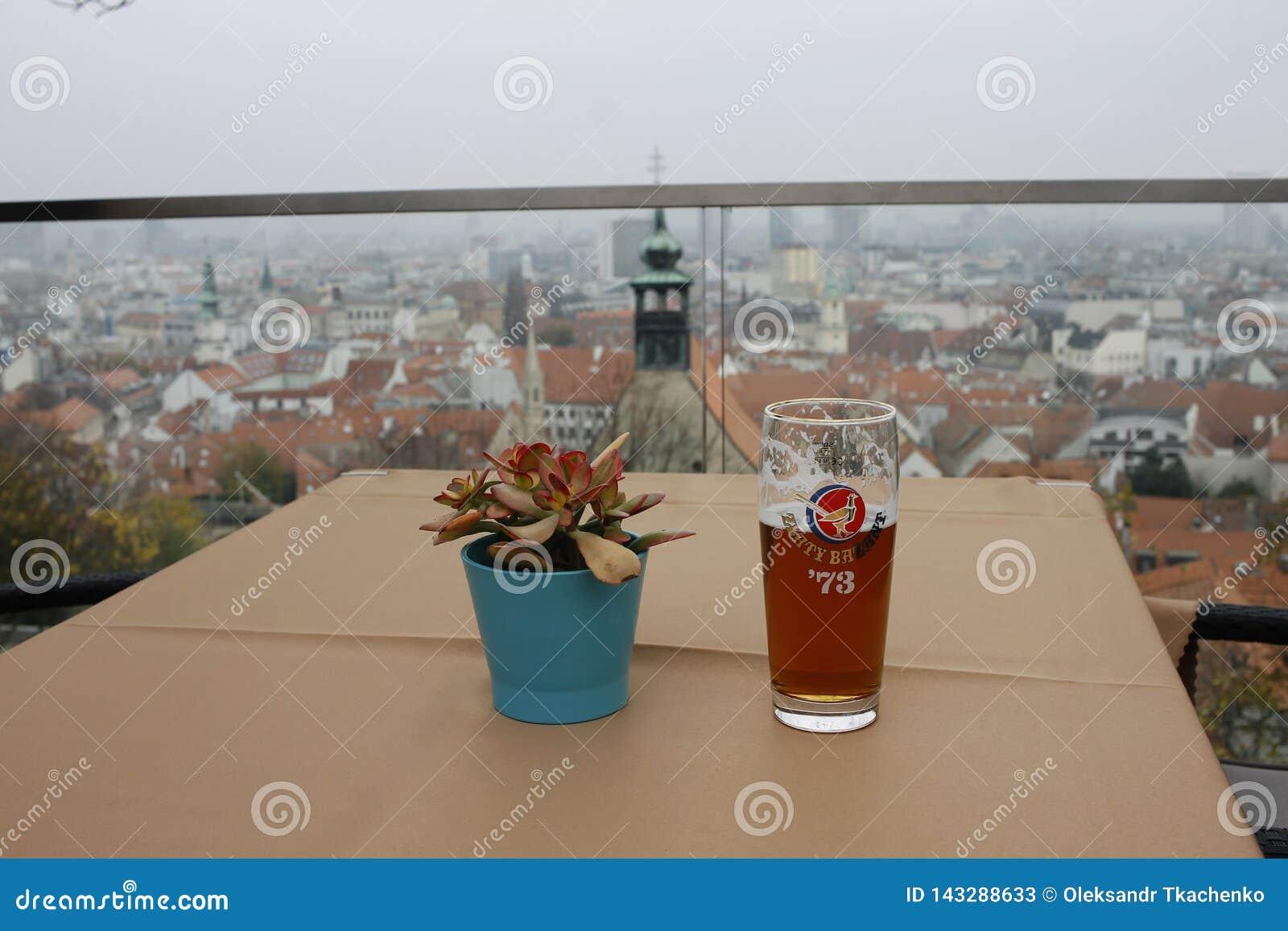 El vaso de cerveza de f en la tabla de madera en el café en el castillo de Bratislava