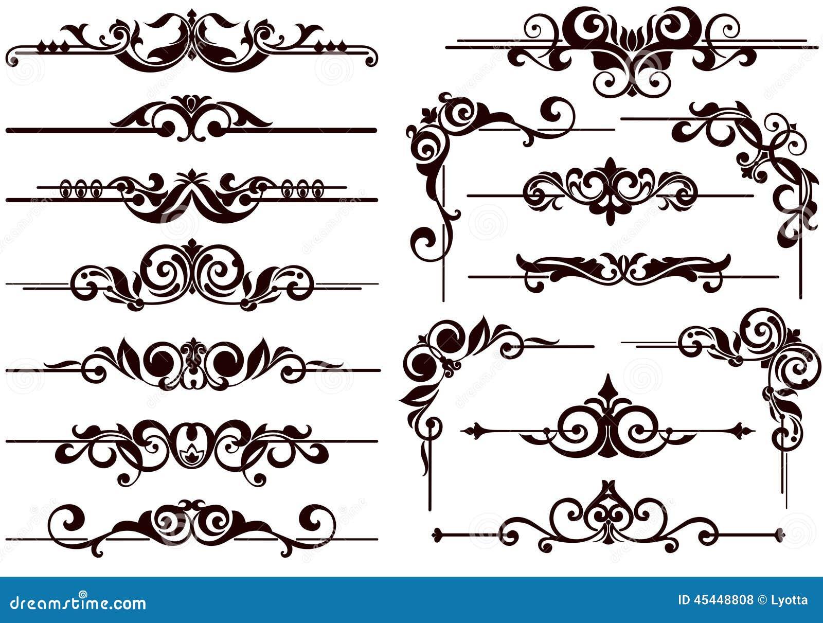 El vector adorna los marcos, esquinas, fronteras