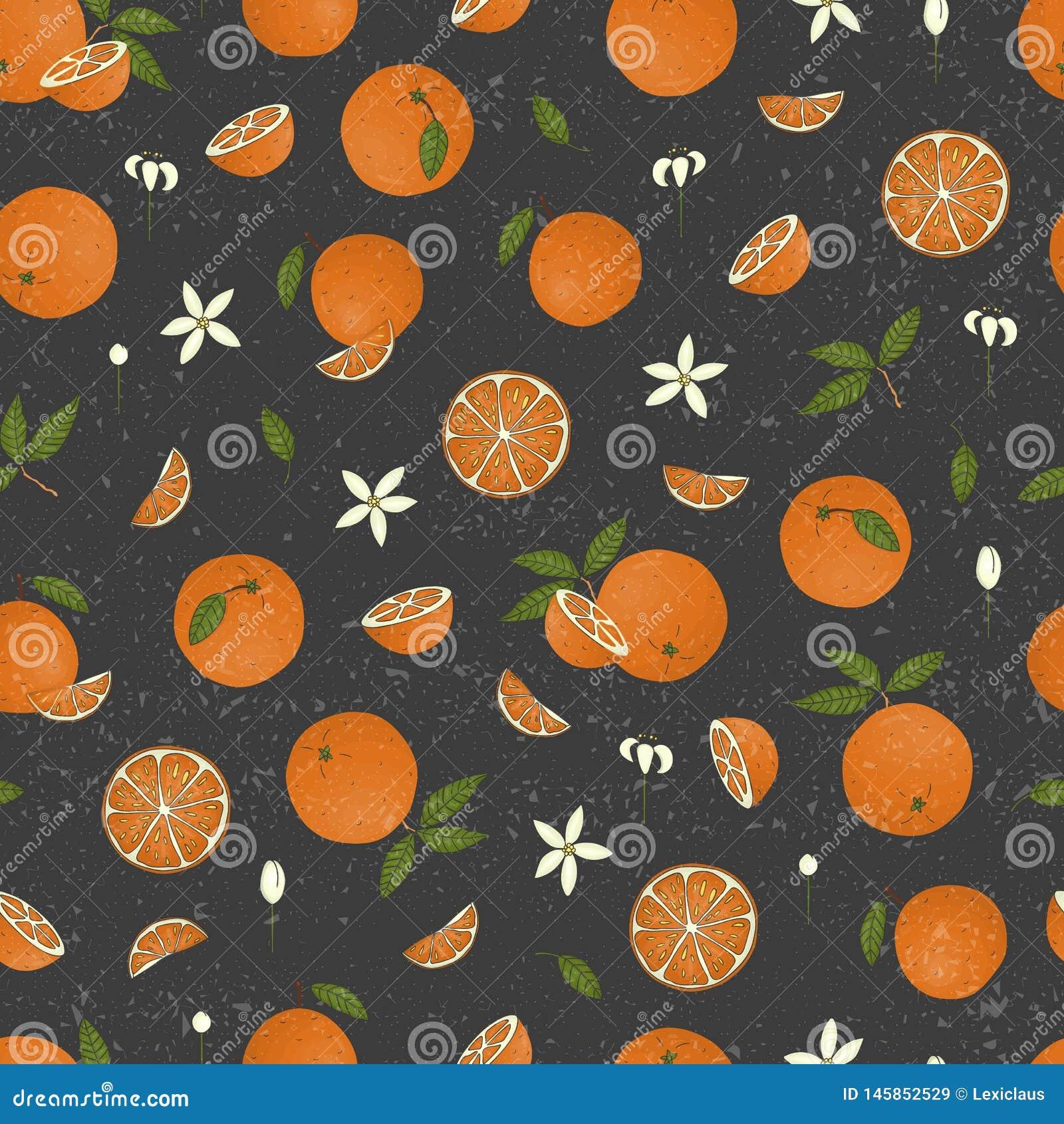 El vector coloreó el modelo inconsútil de las naranjas aisladas en fondo texturizado negro
