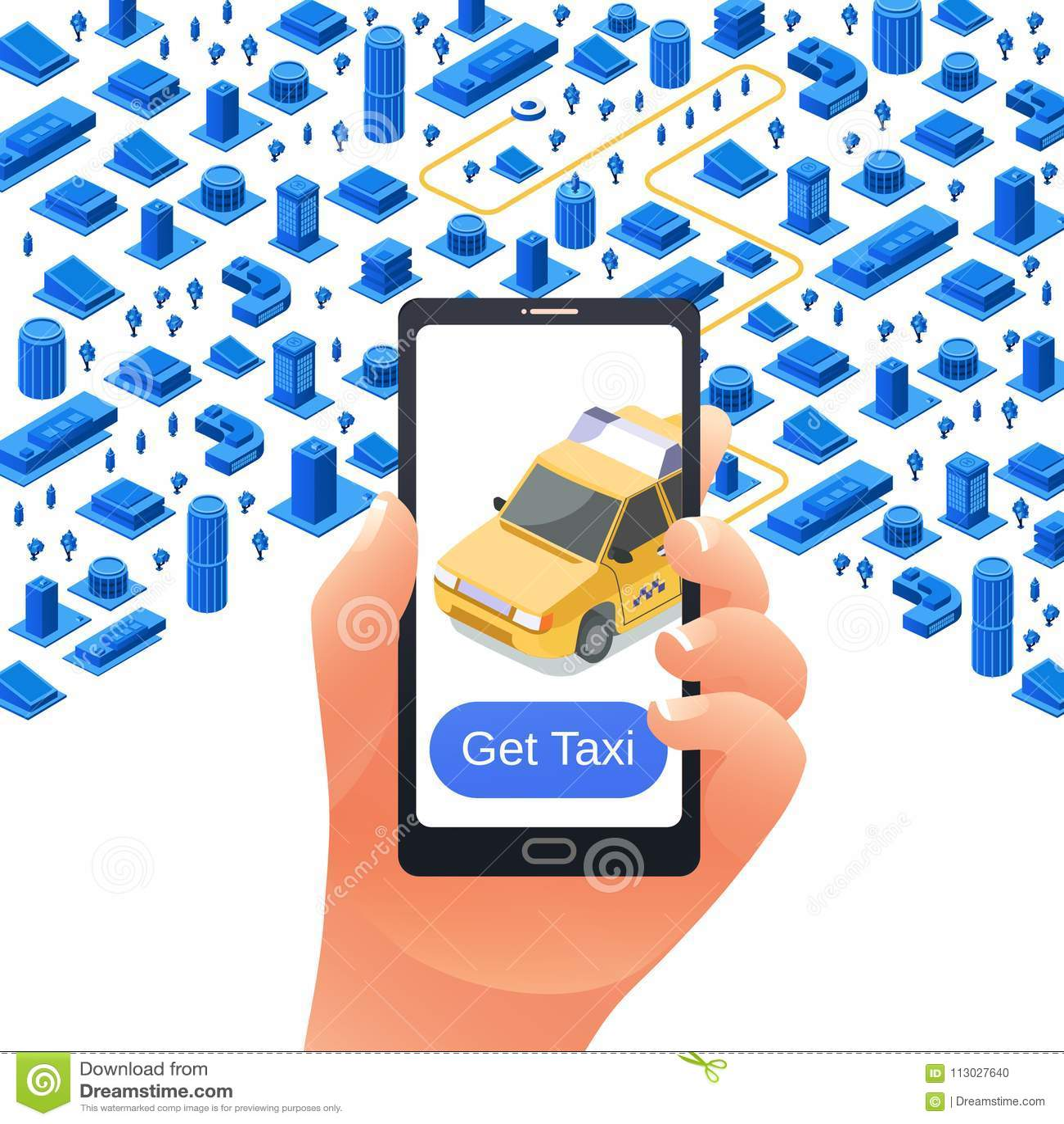 El vector consigue la plantilla de la publicidad del uso del taxi