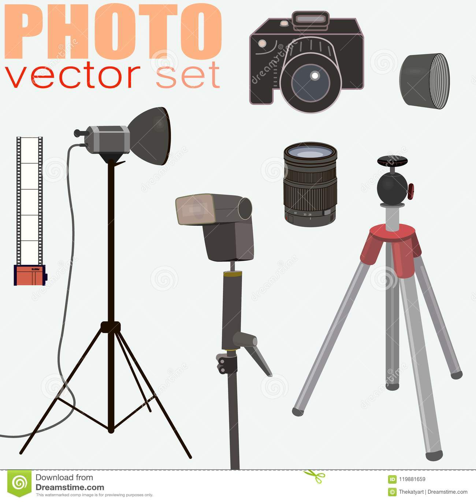 El vector de la fotografía fijó - la colección de equipo de la foto