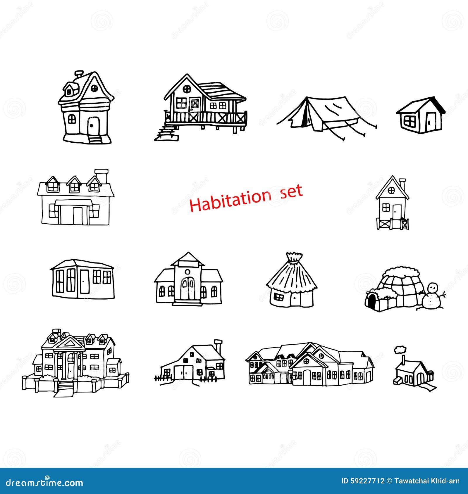 El vector del ejemplo garabatea la mano dibujada de la habitación o del residente