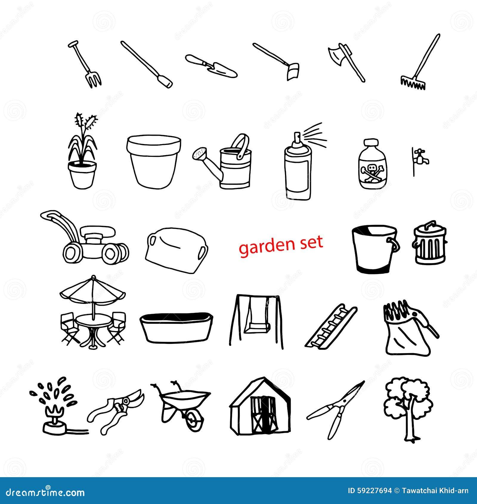 Download El Vector Del Ejemplo Garabatea Objetos Dibujados Mano En El Patio Trasero Garde Ilustración del Vector - Ilustración de mano, flor: 59227694