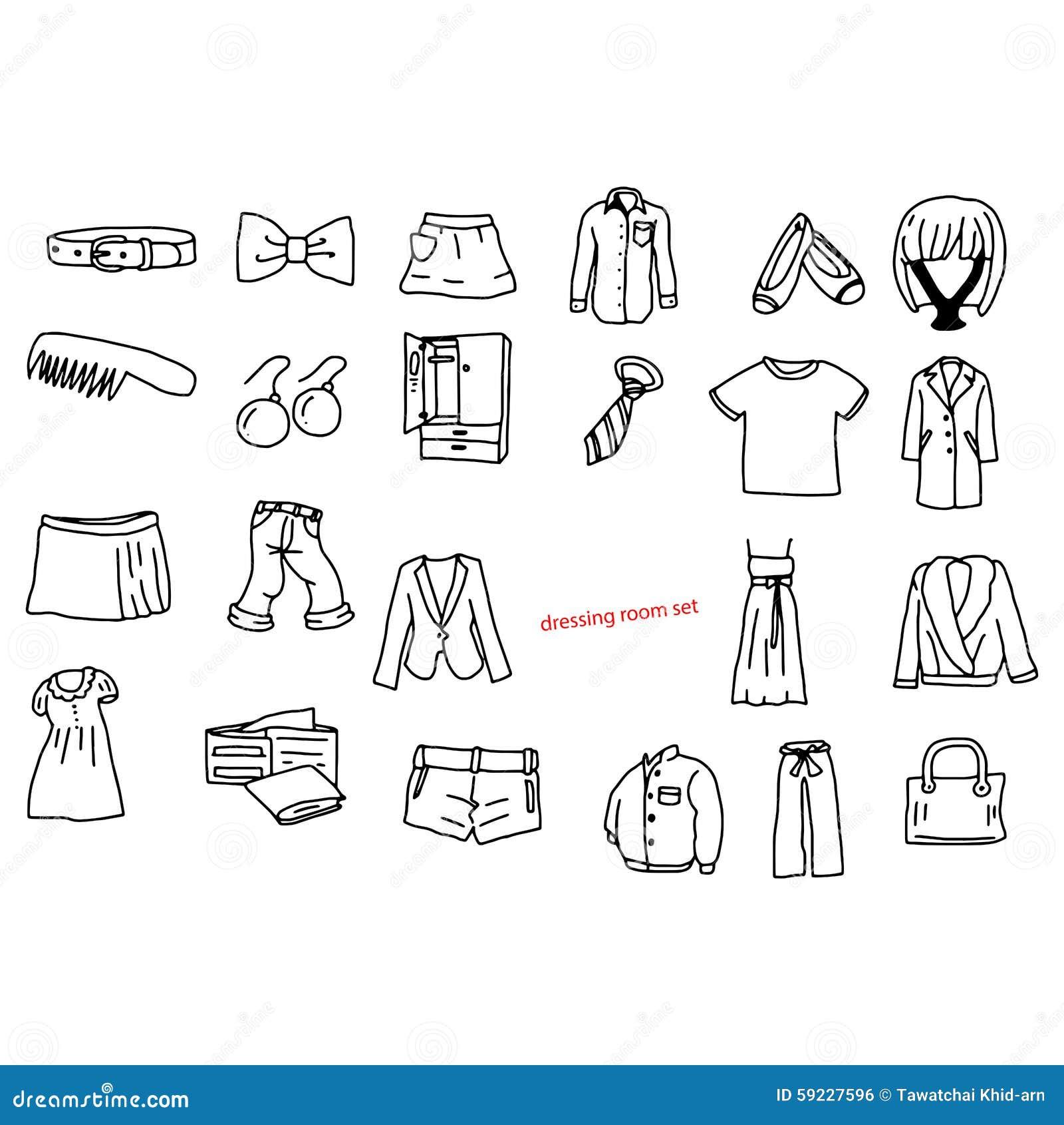 Download El Vector Del Ejemplo Garabatea Objetos Dibujados Mano En Vestuario Ilustración del Vector - Ilustración de label, chaqueta: 59227596