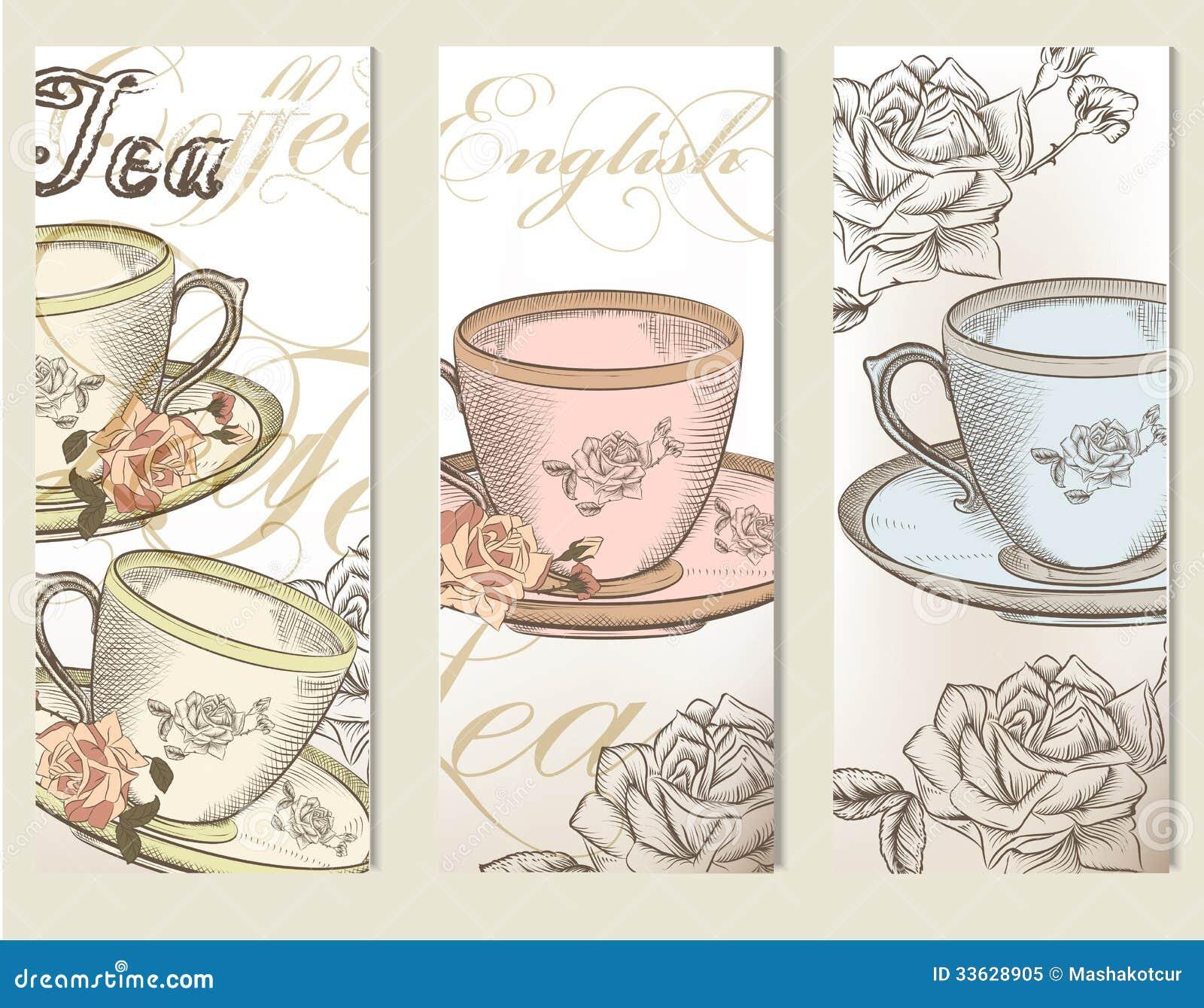 El vector del folleto fij con las tazas del vintage de t for Tazas de te estilo vintage
