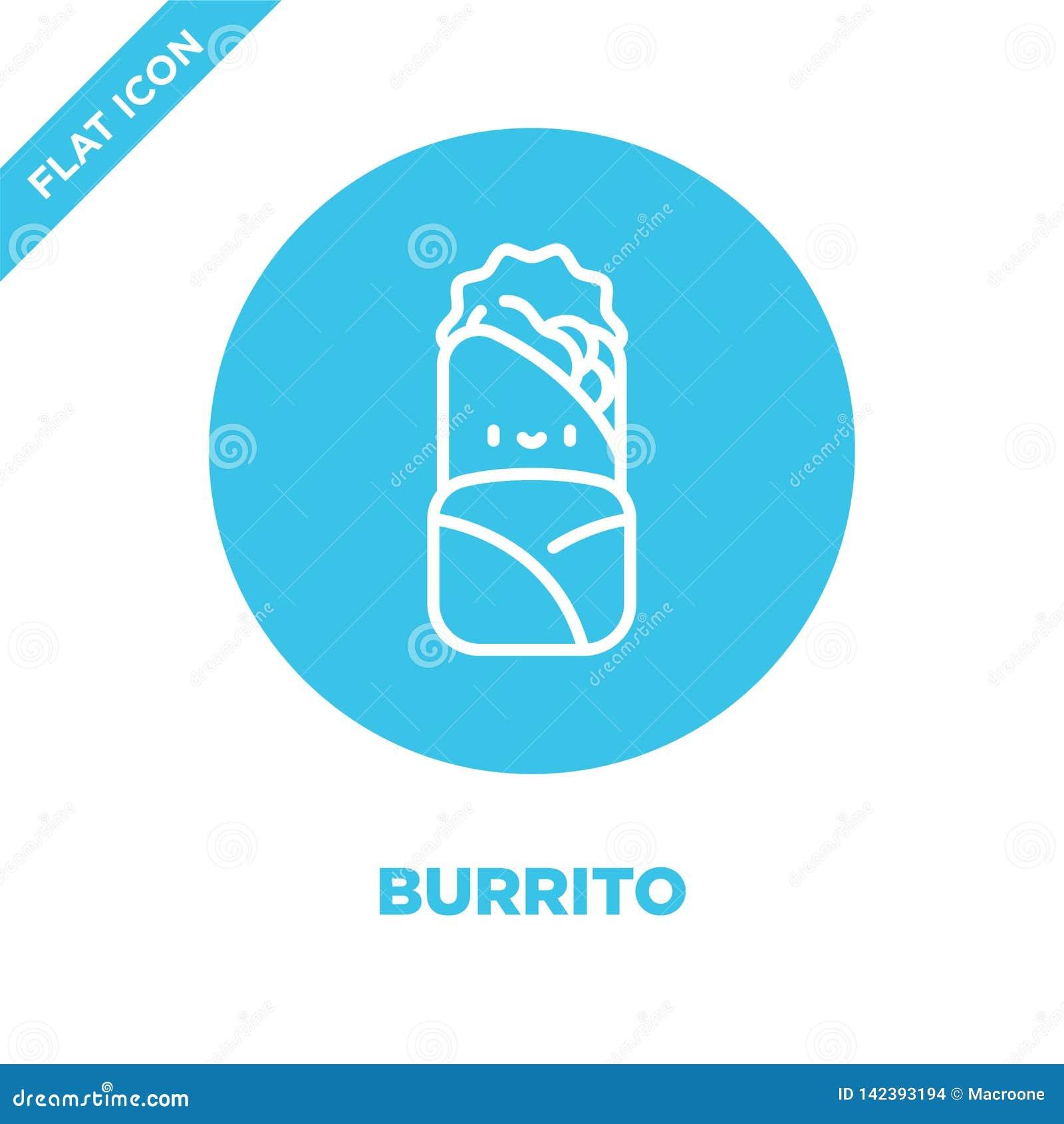 El vector del icono del burrito de se lleva la colección Línea fina ejemplo del vector del icono del esquema del burrito Símbolo