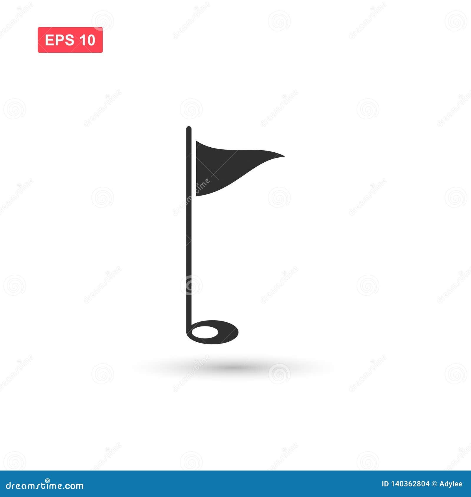El vector del icono de la bandera del golf aisló 3