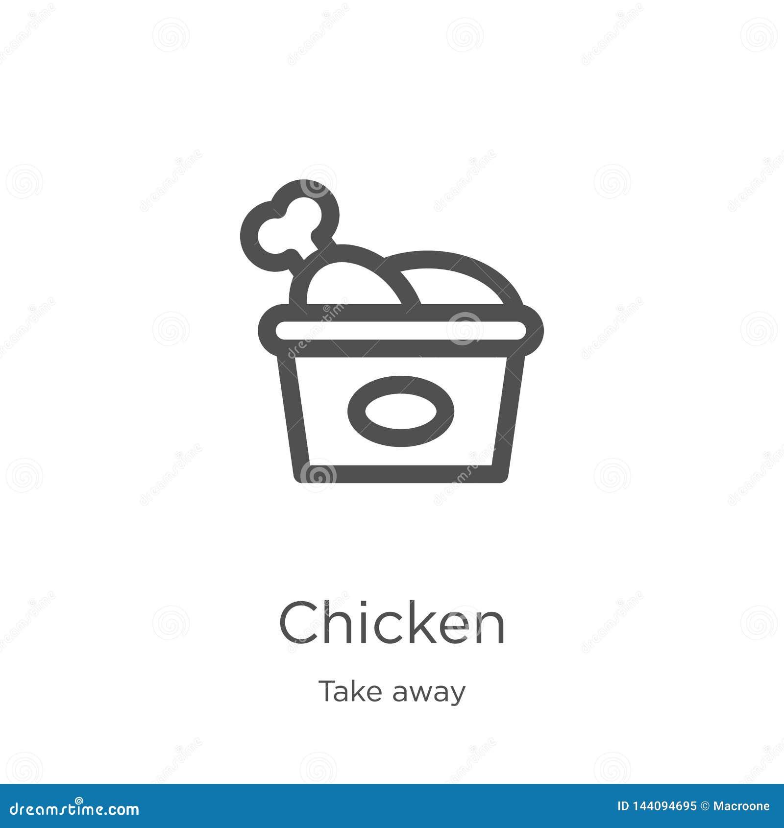 El vector del icono del pollo de se lleva la colección Línea fina ejemplo del vector del icono del esquema del pollo Esquema, lín
