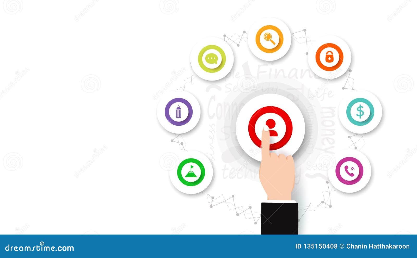 El vector del negocio, finger empuja manualmente en el botón, icono y muestra infographic, diseño plano, fondo, idea creativa y s
