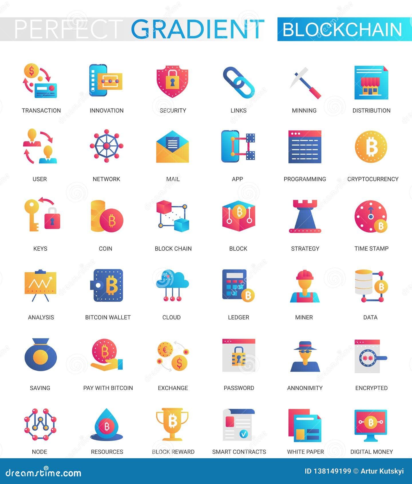 El vector fijó de los iconos planos de moda de Blockchain Cryptocurrency de la pendiente