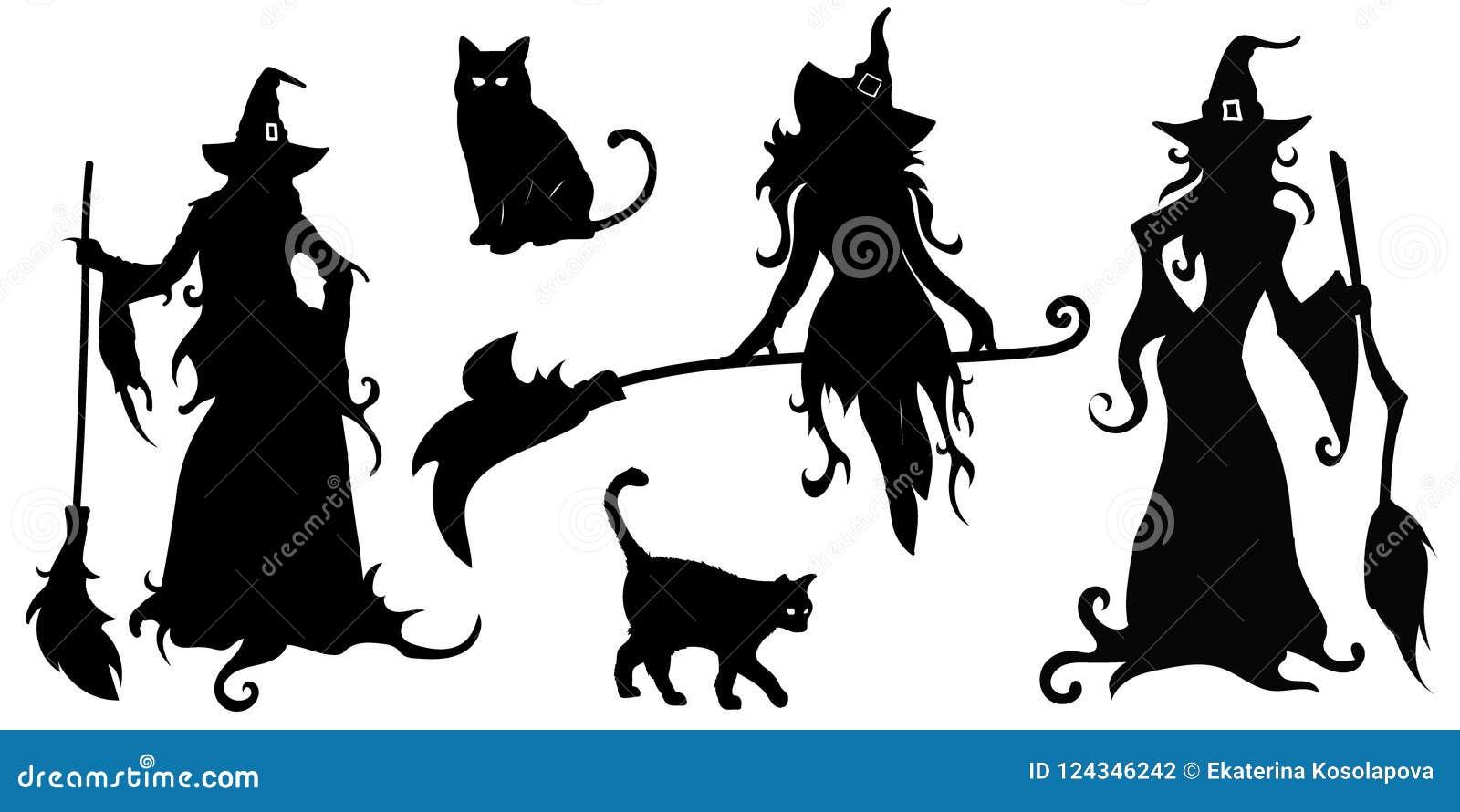 El vector grande fijó con las siluetas negras de brujas y de gatos
