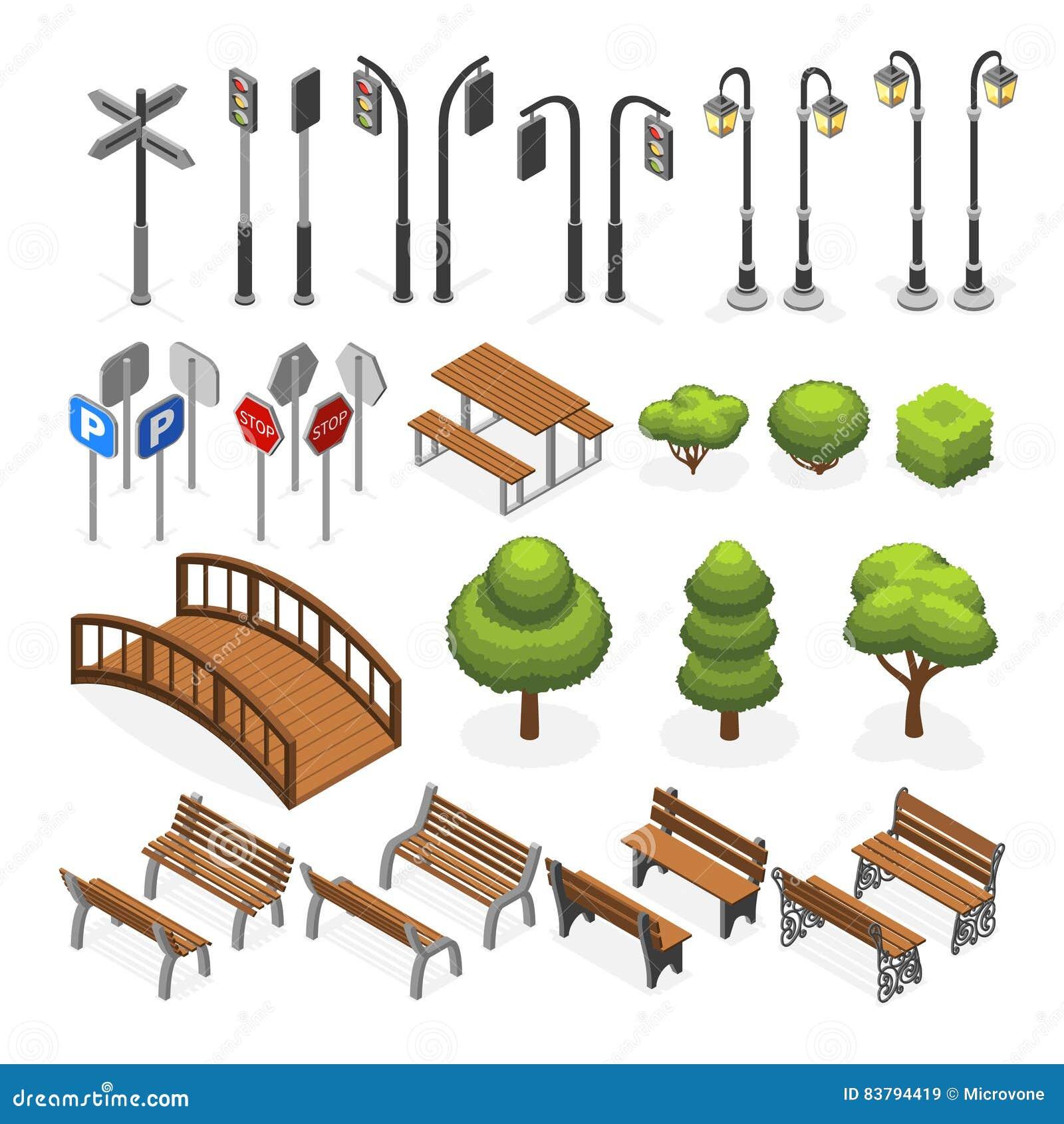 El vector isométrico miniatura de la calle urbana de la ciudad se opone, los bancos, árboles, farola, asientos, señales de tráfic