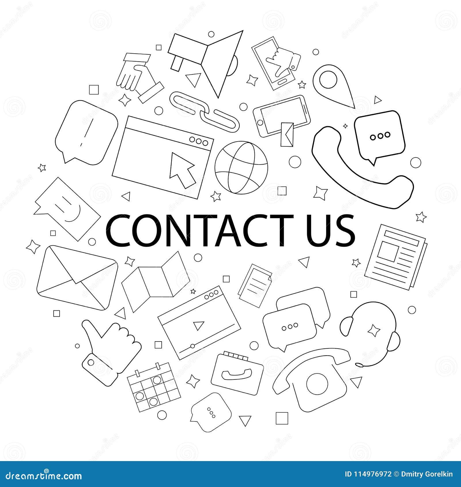 El vector nos entra en contacto con modelo con palabra Éntrenos en contacto con fondo