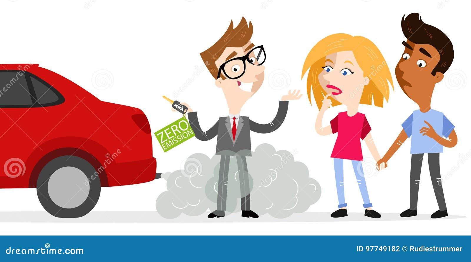 El vendedor de la historieta que llevaba a cabo llaves del coche etiquetó la emisión cero mientras que se colocaba en gas de esca