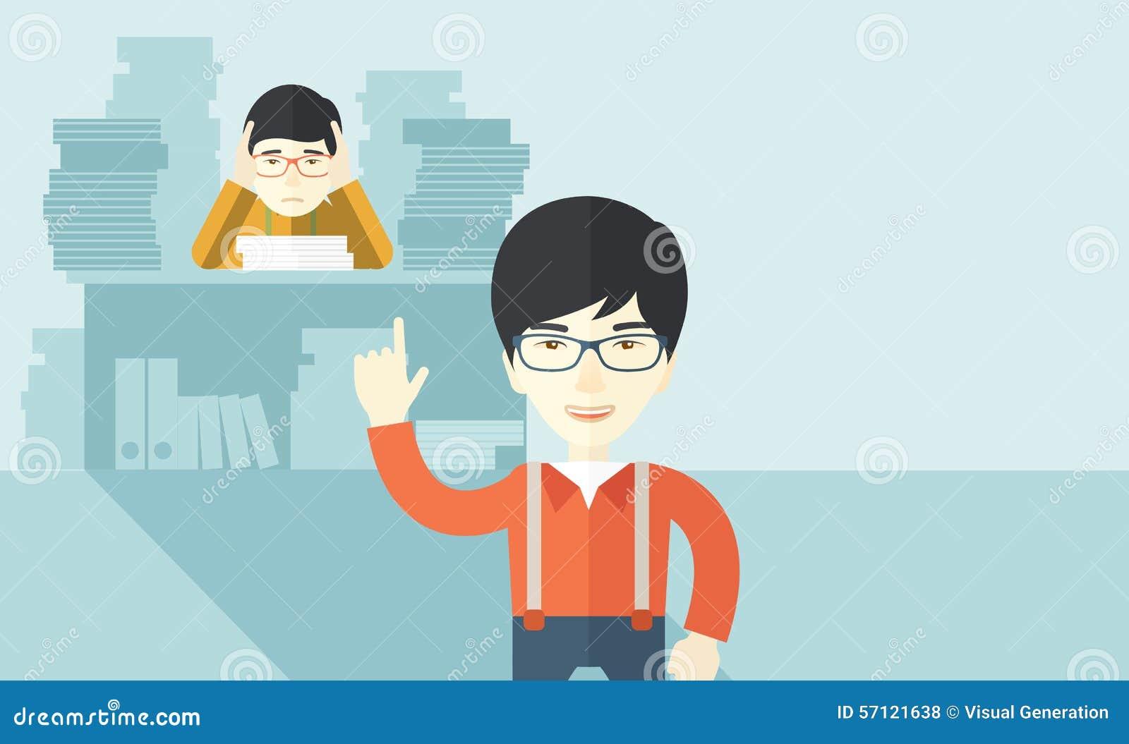 El vendedor de oficina asiático tiene muchos trabajos