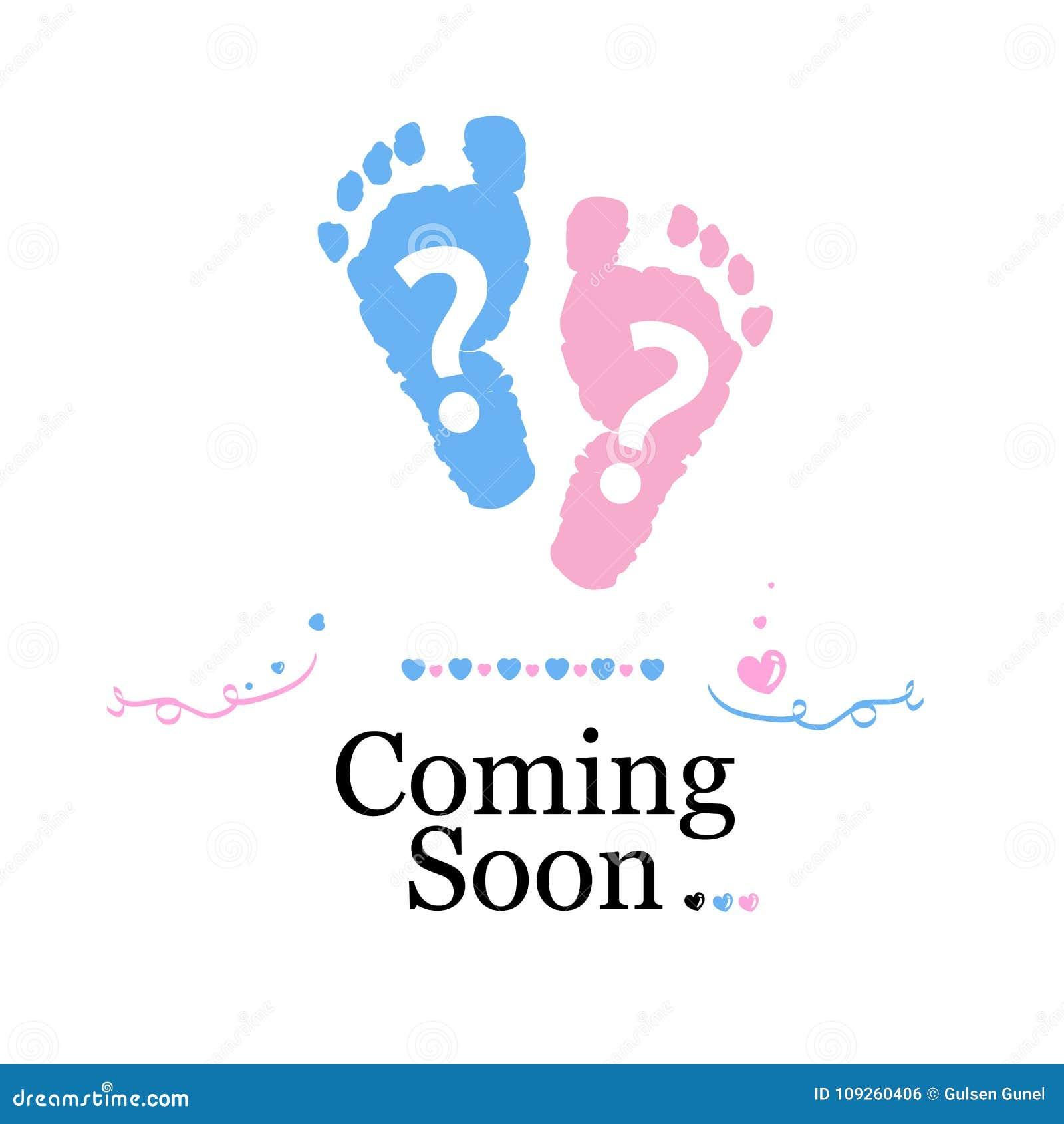 El venir pronto bebé El género del bebé revela símbolo Muchacha, muchacho y símbolo gemelo del bebé