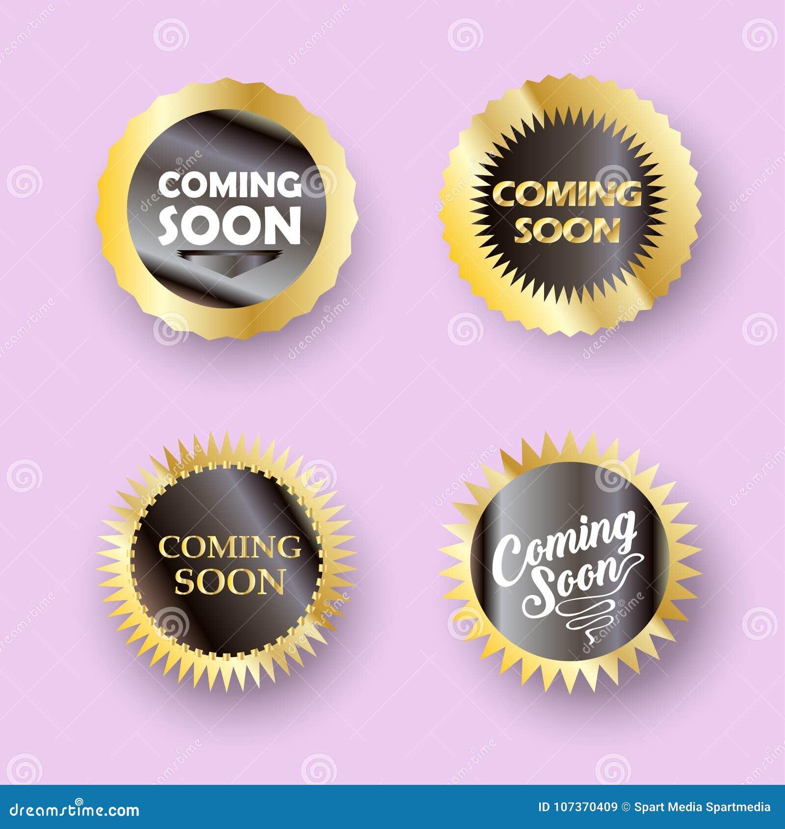 El venir pronto sistema del sello de la muestra del botón