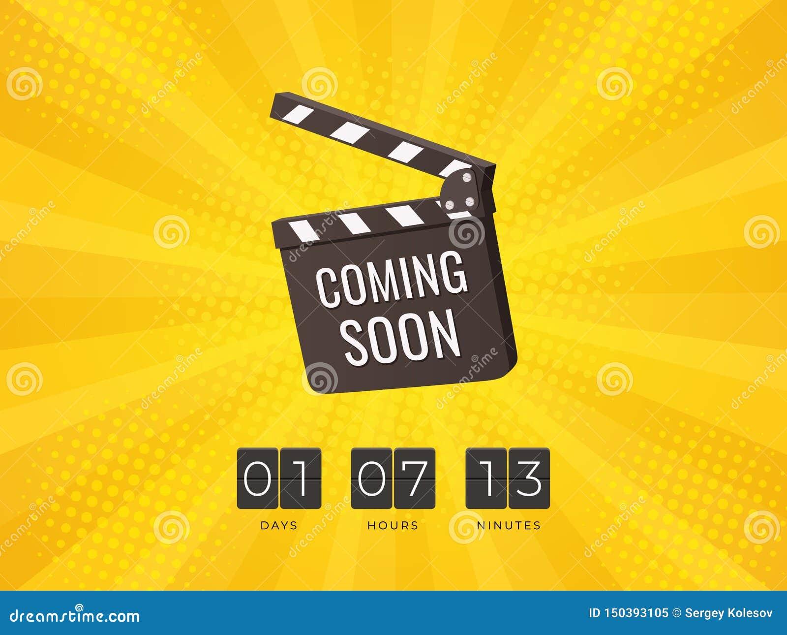 El venir pronto tablero de chapaleta con Flip Countdown Clock en fondo amarillo