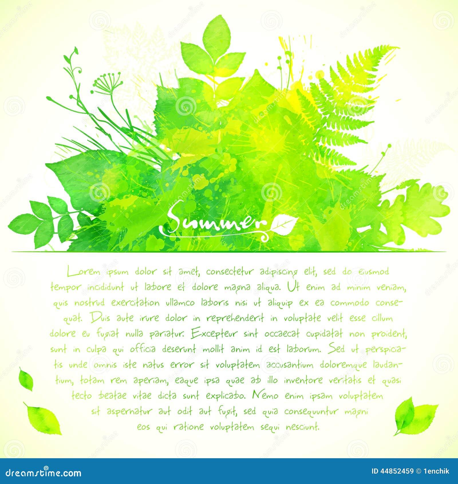 El verano verde de la acuarela deja la tarjeta de felicitación