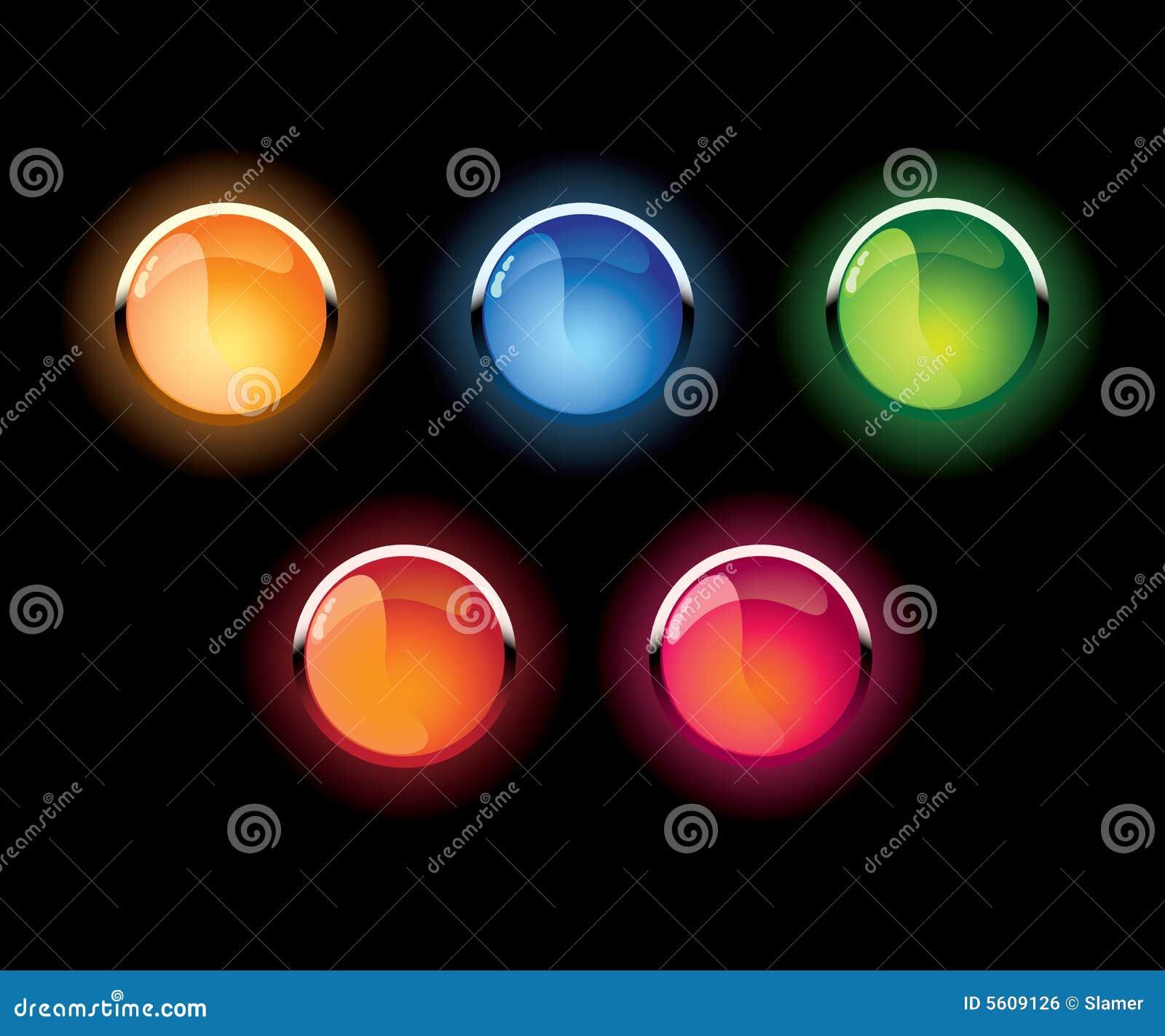 El vidrio del vector brilló los botones